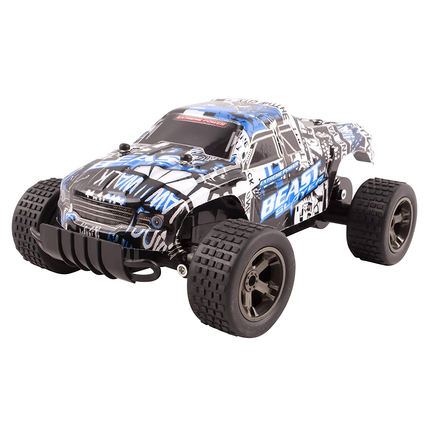 RC Truck Beast Cheetah King Buggy Remote Control 2.4 GHz System 1:18 Scale Size Car RTR With Working Suspension High Speed Radio Control Off-Road Hobby Truggy Rechargeable Battery Included (Blue)