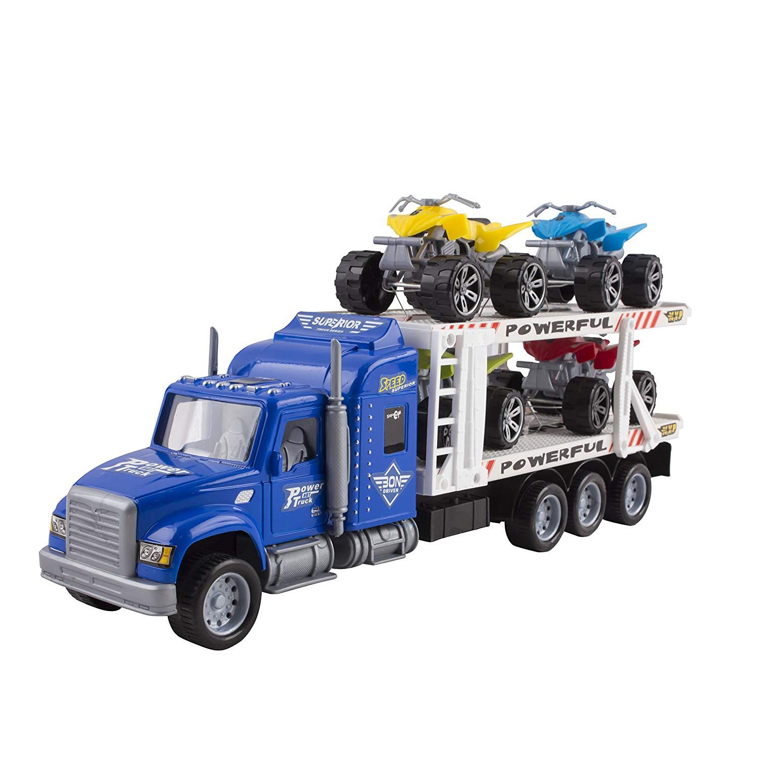 Toy Truck Transporter Trailer 145 Childrens Friction Big Rig With 4 ATV Toys No Batteries Or Assembly Required Perfect Semi Truck For Kids Blue Truck