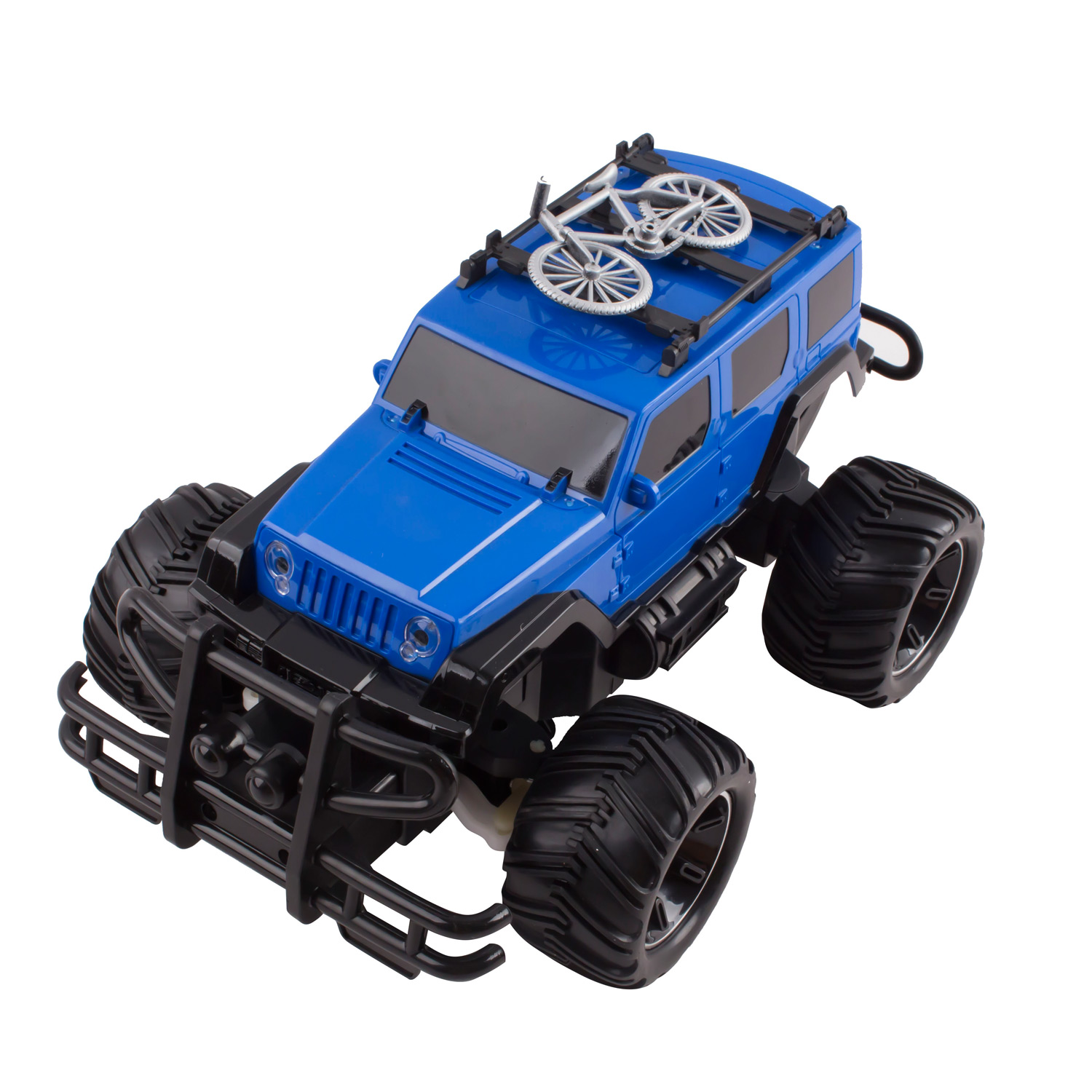RC Truck Jeep Big Wheel Monster Remote Control Car With LED Headlights Ready to Run Includes Rechargeable Battery 116 Size Off-Road Beast Buggy Toy Blue
