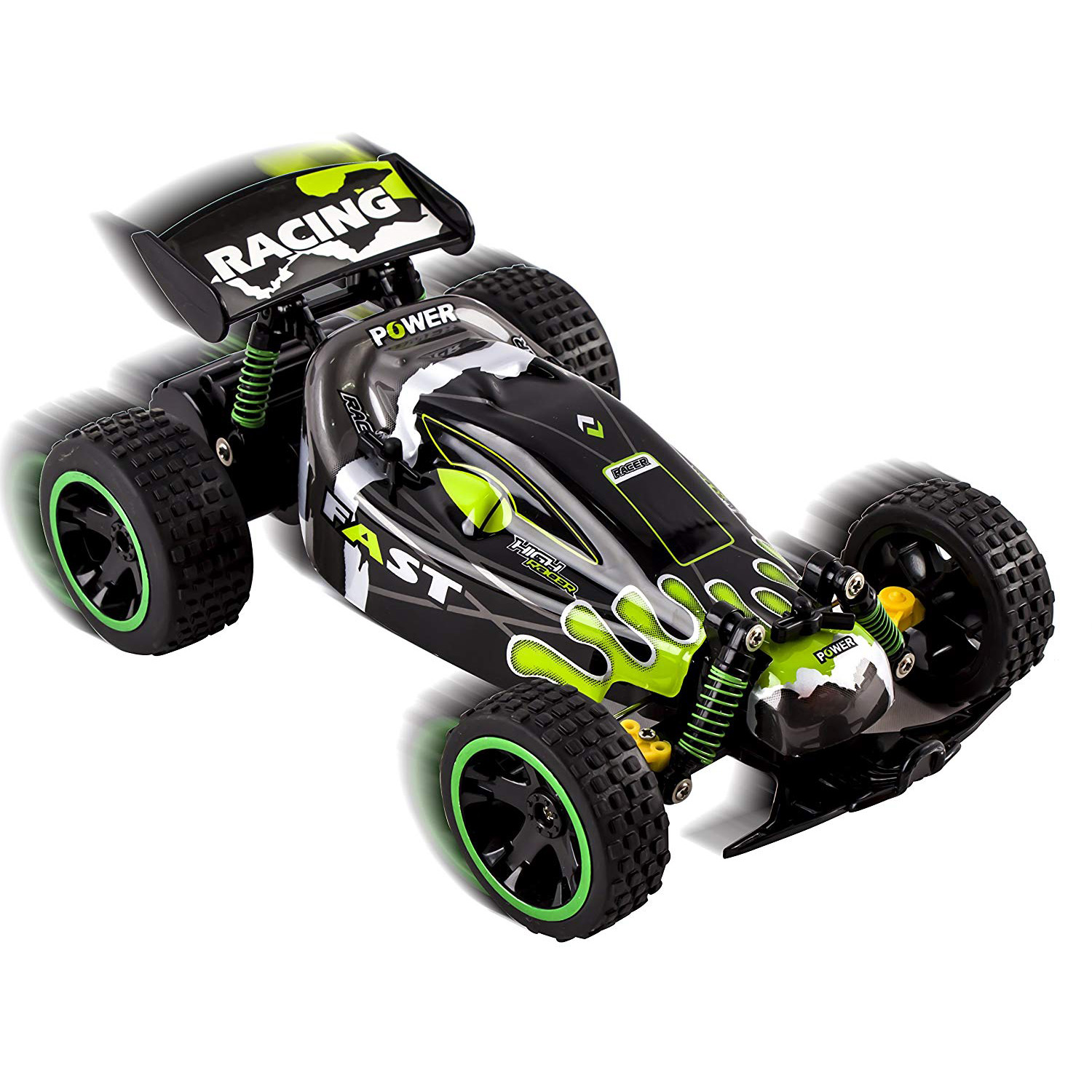 RC Buggy Truck 24Ghz System 118 Scale Remote Control High Speed Power With Working Off-Road Suspension Ready to Run Indoor And Outdoor Radio Car Toy Green