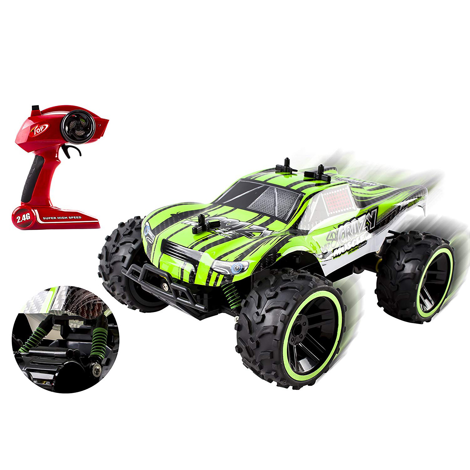 Speed Muscle RC Buggy 24Ghz 116 Scale Remote Control Truggy Ready to Run With Working Suspension And Spring Shock Absorbers for Indoor Outdoor And Off-Road Use Strong Build Toy Green