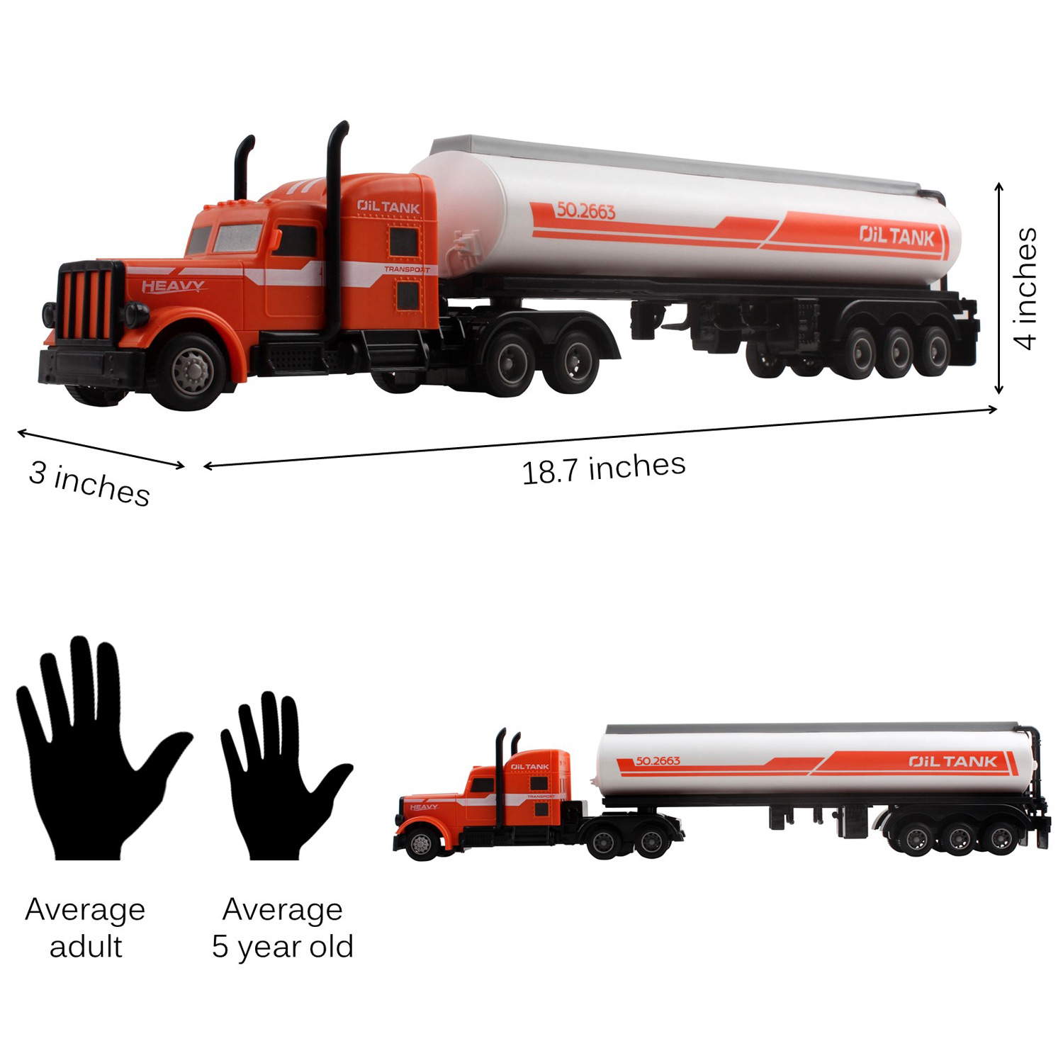 Large Rc Semi Truck Fuel Trailer 18 7 2 4ghz Fast Speed 1 16 Scale Electric Oil Hauler Rechargeable Remote Control Kids Big Rig Toy Carrier Transporter Cargo Vehicle Perfect Gift For Children Toyz X