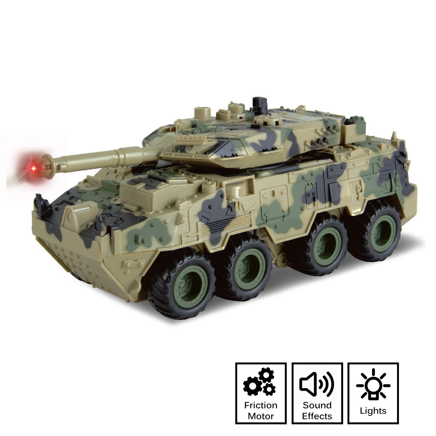 Camouflage Battle Tank Toy Friction Powered Push And Go With Lights Sounds Nice Quality Details Pivoting Top Action Military Play Imagination Army Car Armored Vehicle Perfect Kids Gift
