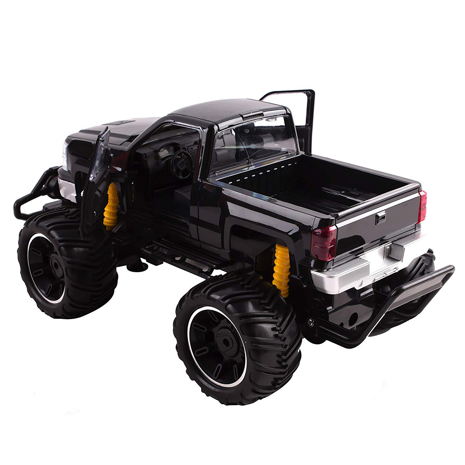 Rc Truck Big Wheel Beast Monster Truck Remote Control Doors Opening Car Light Up Led Headlights Ready To Run Includes Rechargeable Battery 1 14 Size Off Road Pick Up Buggy Toy Black Toyz X