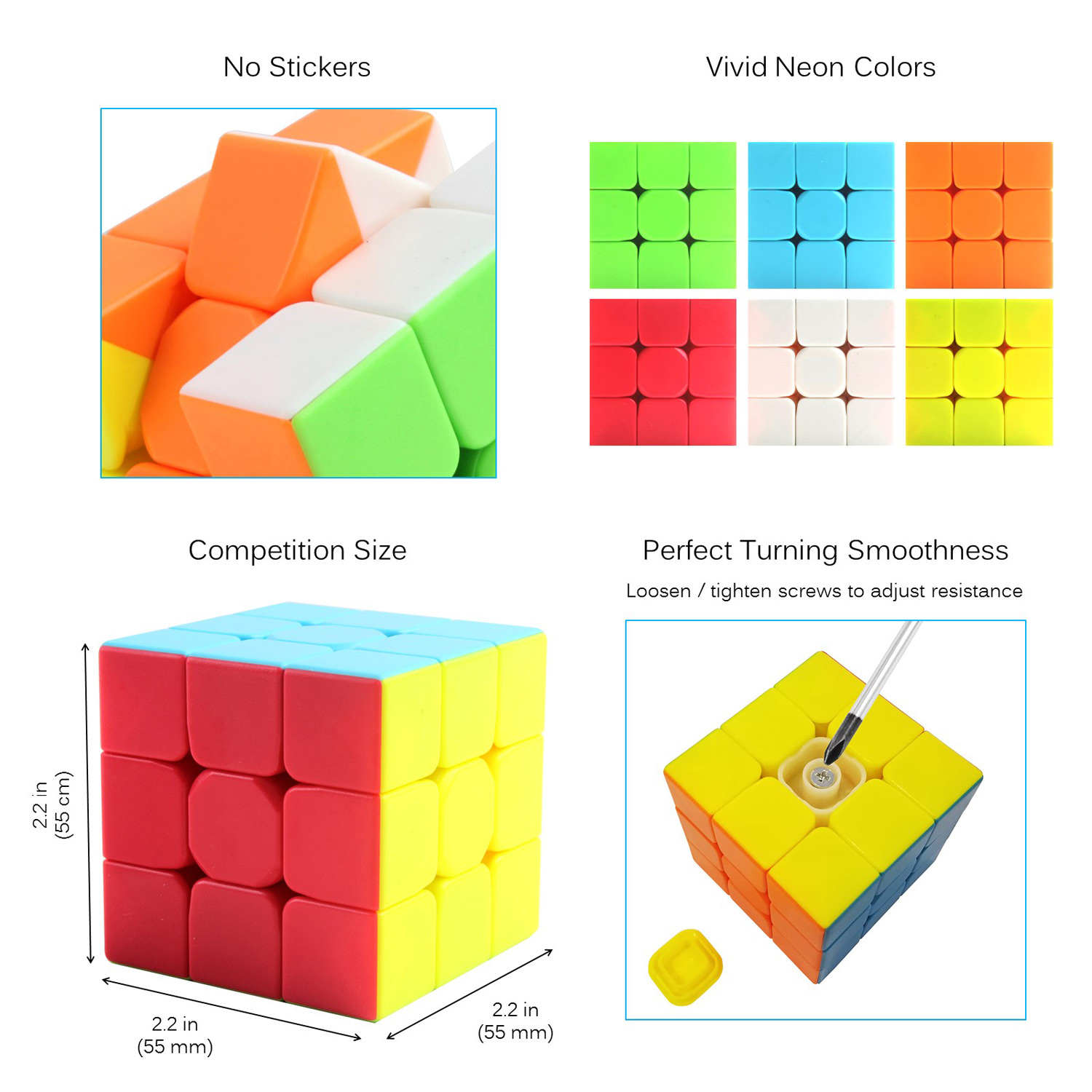 Speed Cube Turns Quick Rubiks Smooth Play Rubix Solid Durable Stickerless Smart Gaming Puzzle Modern Colors IQ Tester Magic Anti Stress Anti-anxiety Adults Kids Brain Teaser Toy