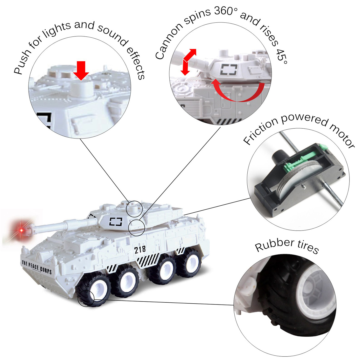 Large Military Battle Tank Toy Friction Powered Push And Go With Lights Sounds Nice Quality Details Pivoting Top Action Play Imagination Army Car Armored Vehicle Perfect Kids Gift Arctic White