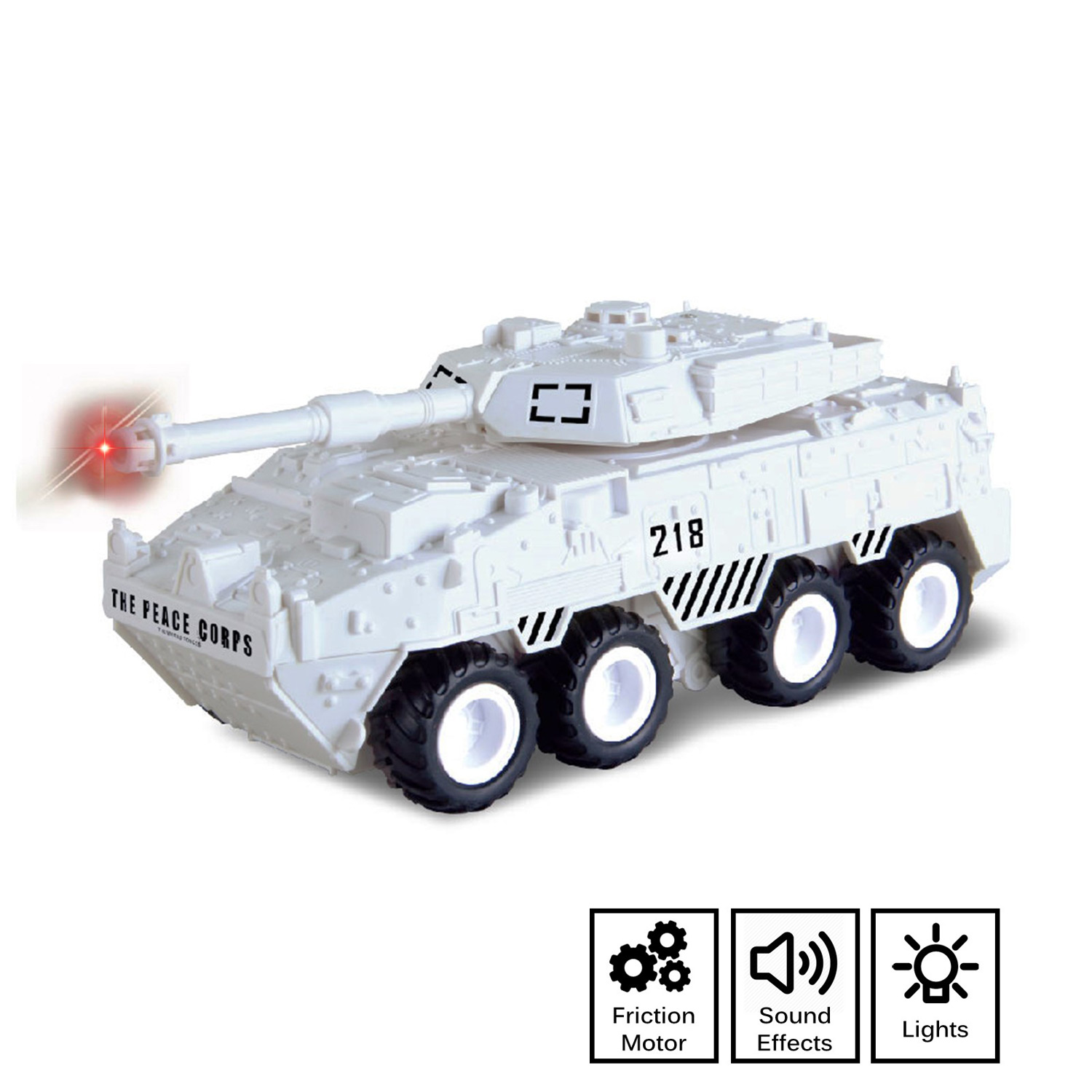 Military Battle Tank Toy Friction Powered Push And Go With Lights Sounds Nice Quality Details Pivoting Top Action Play Imagination Army Car Armored Vehicle Perfect Kids Gift Arctic White