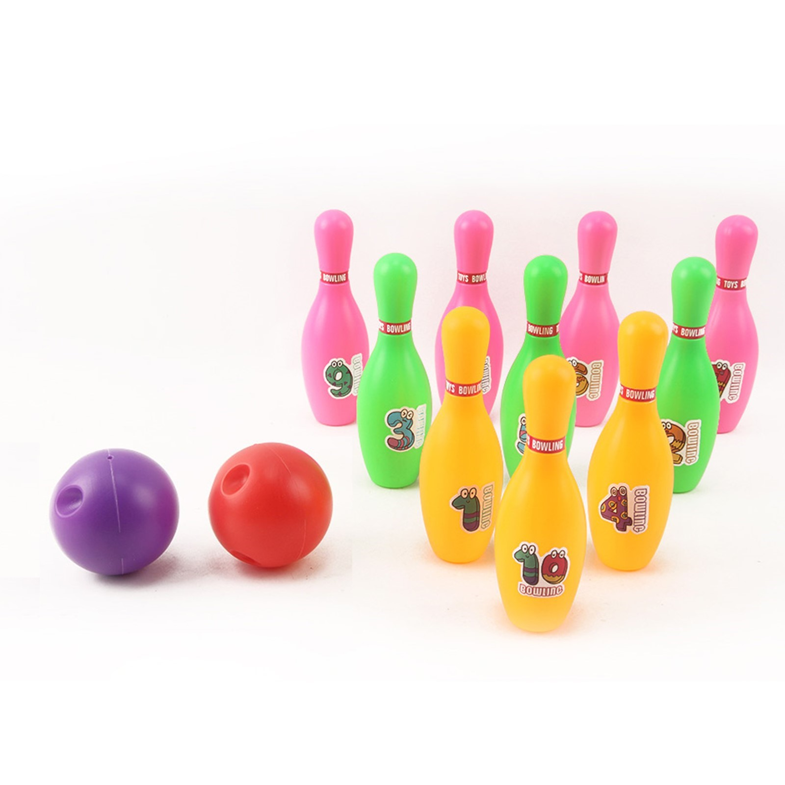 12 Pieces Deluxe Toy Bowling Play Set Includes 10 Pins And 2 Balls Carrying Case Colorful Educational Early Development Indoor Sport Alley Game Perfect Gift For Toddlers Boy Or Girl Children