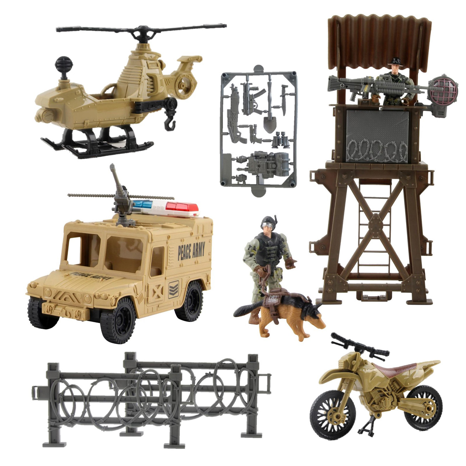 Deluxe Military Special Operations Combat Series Battle Play Set Includes Lookout Watch Tower Helicopter Motorcycle Armored Vehicle Army Dog Two Soldiers And Artillery Perfect Kids Action Toys