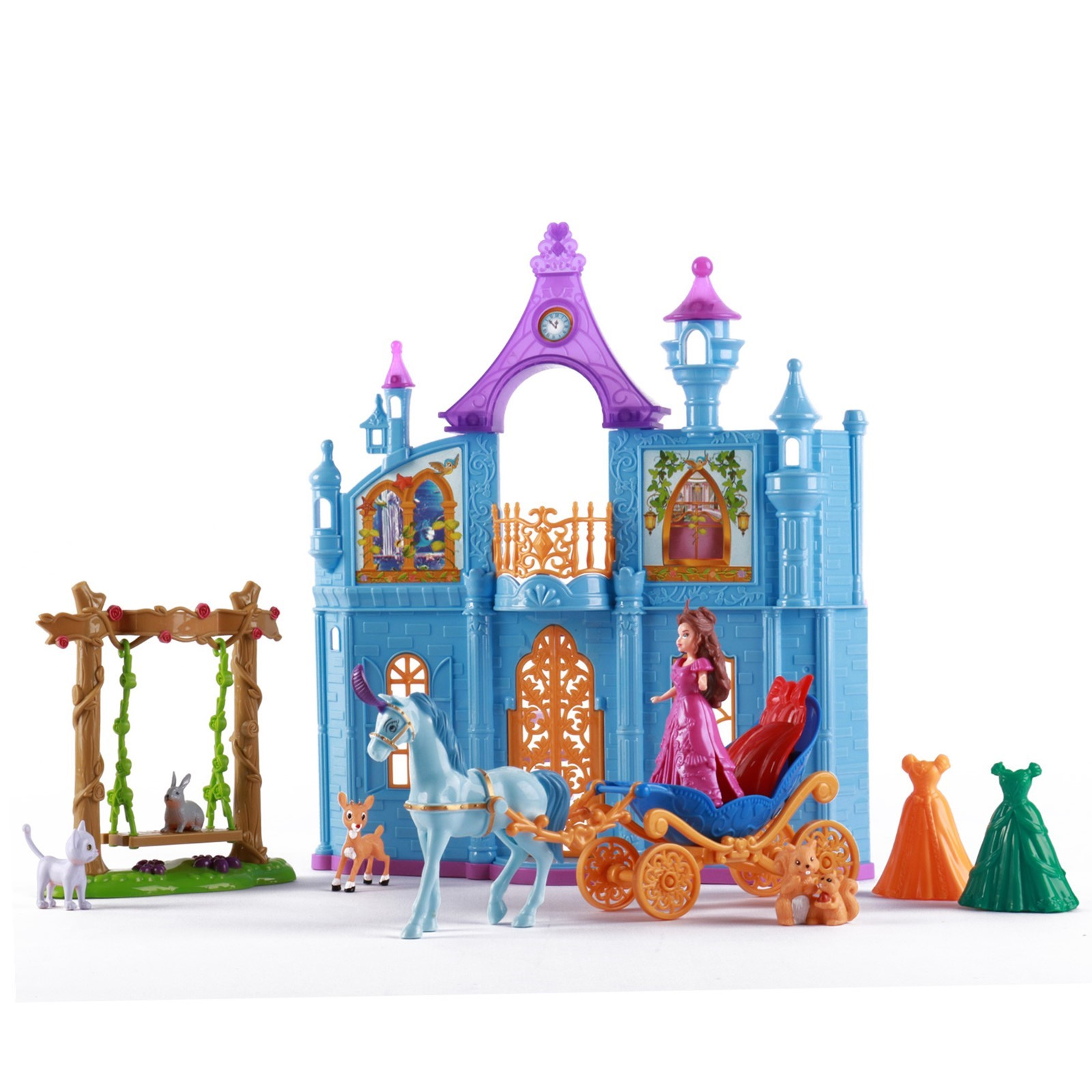 Princess Castle Deluxe Playset With Animal Friends Enchanted Swing Magical Horse And Carriage 3 Wardrobe Options Children's Pretend Play Perfect Early Learning Educational Preschool Girls Toys