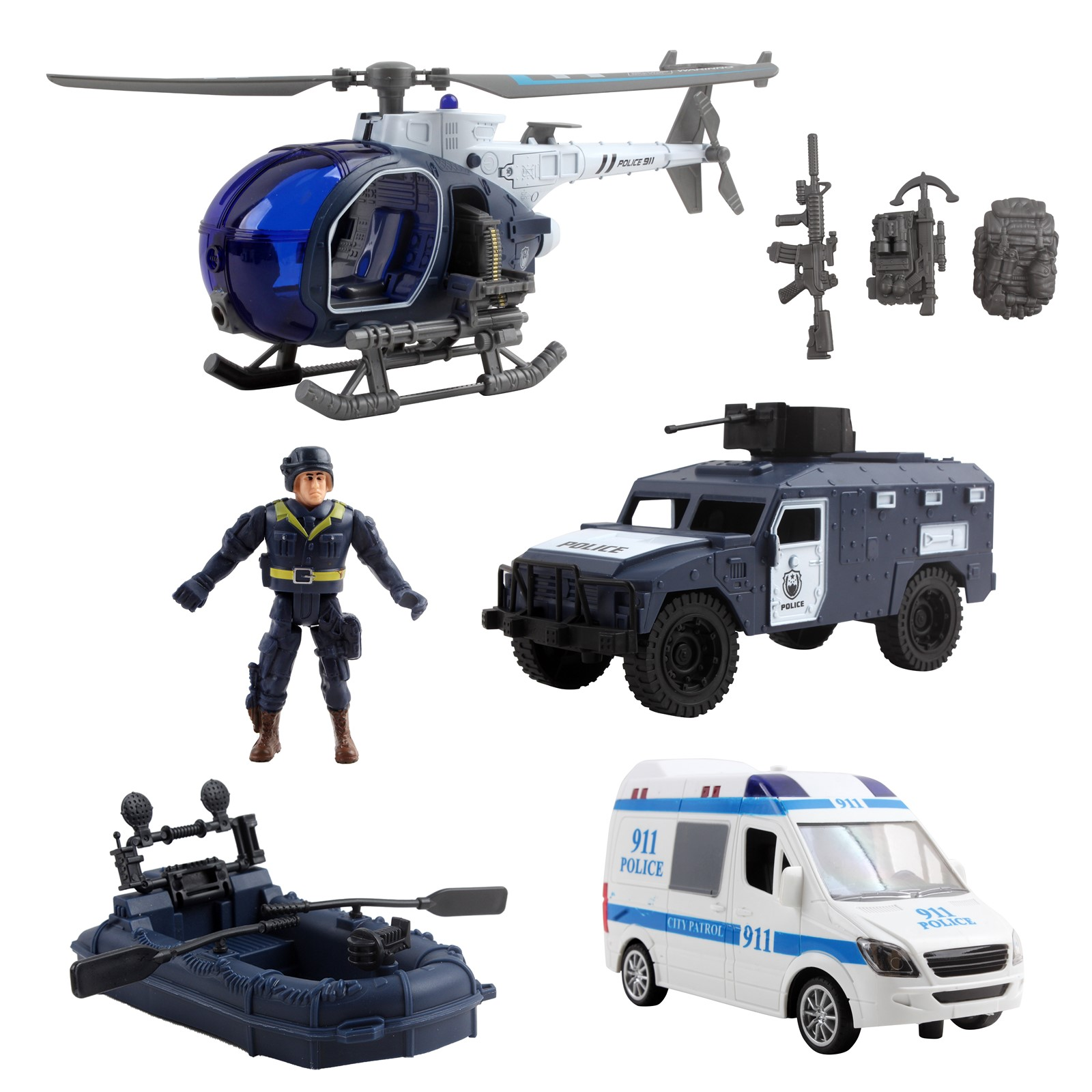 Deluxe Police Special Operations Rescue Series Play Set Includes Armed Helicopter Armored Vehicle Ambulance Water Raft Canoe Soldier And Artillery Perfect Kids Pretend Army Action Toys