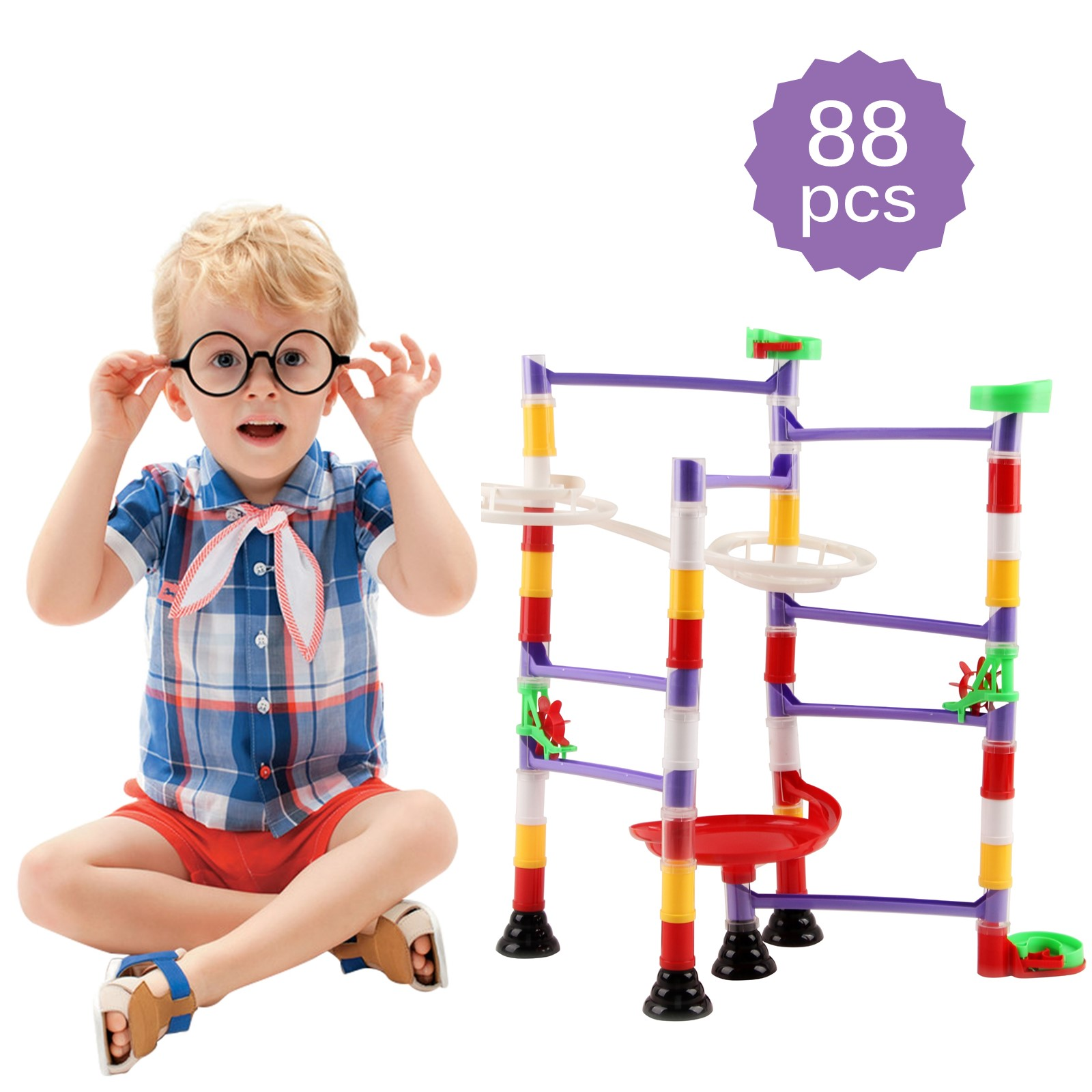150 Piece Marble Run Premium Set Construction Building Blocks Toys STEM Learning Educational DIY Building Play Toy 100 Translucent Tubes And 50 Glass Marbles Perfect Children Gift Boy Girl