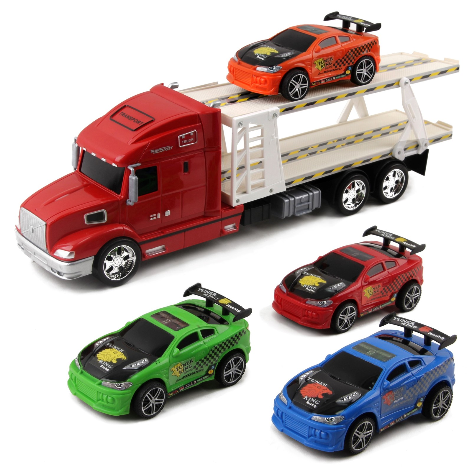 Friction Powered Toy Semi Truck Trailer Kids Push And Go Big Rig Carrier Includes Four Race Cars 1:20 Scale Auto Transporter Vehicle Perfect Pretend Play Imagination Gift For Children