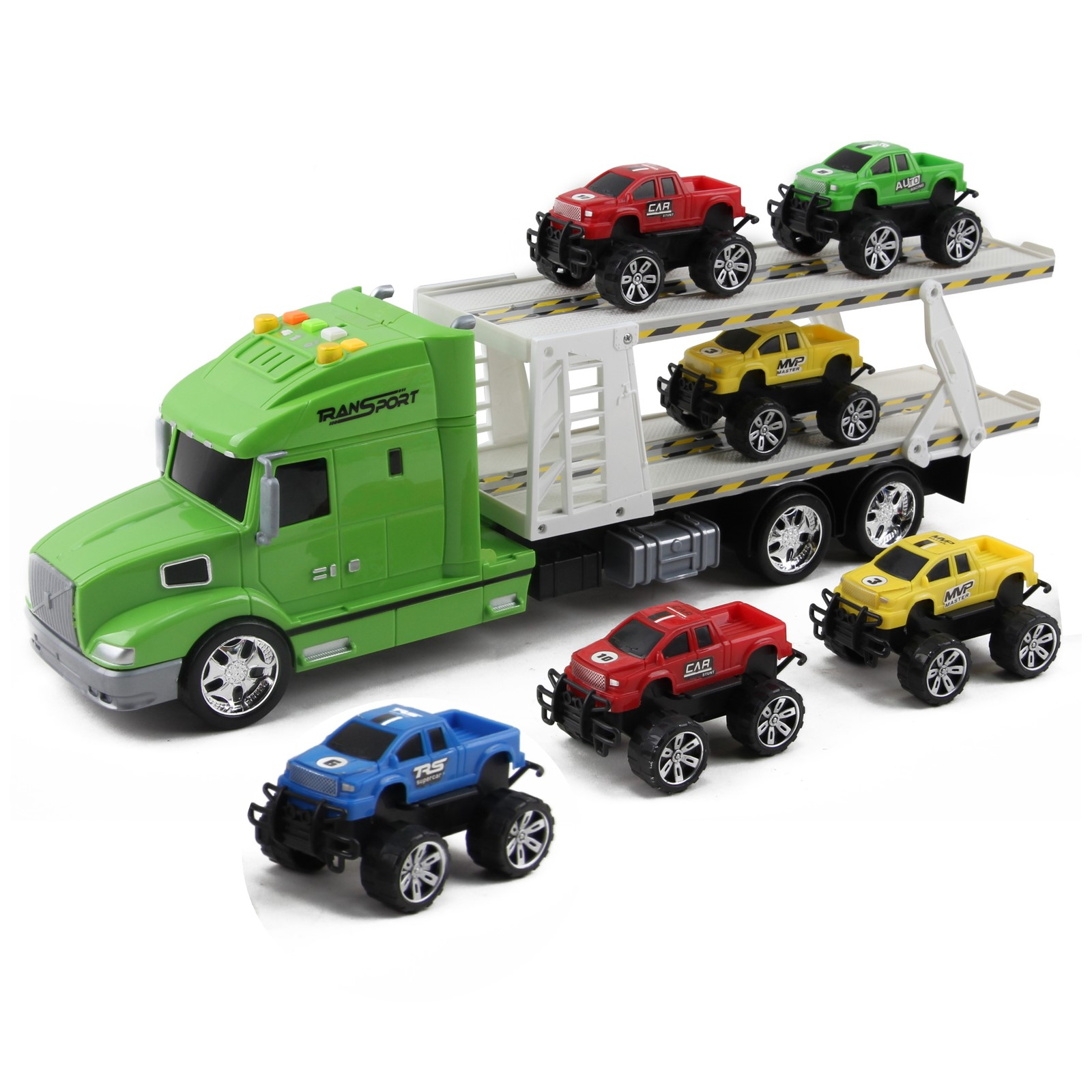 Friction Powered Toy Semi Truck Trailer Kids Push And Go Big Rig Carrier Includes Six Pickup Cars 1:20 Scale Auto Transporter Vehicle Perfect Pretend Play Imagination Gift For Children
