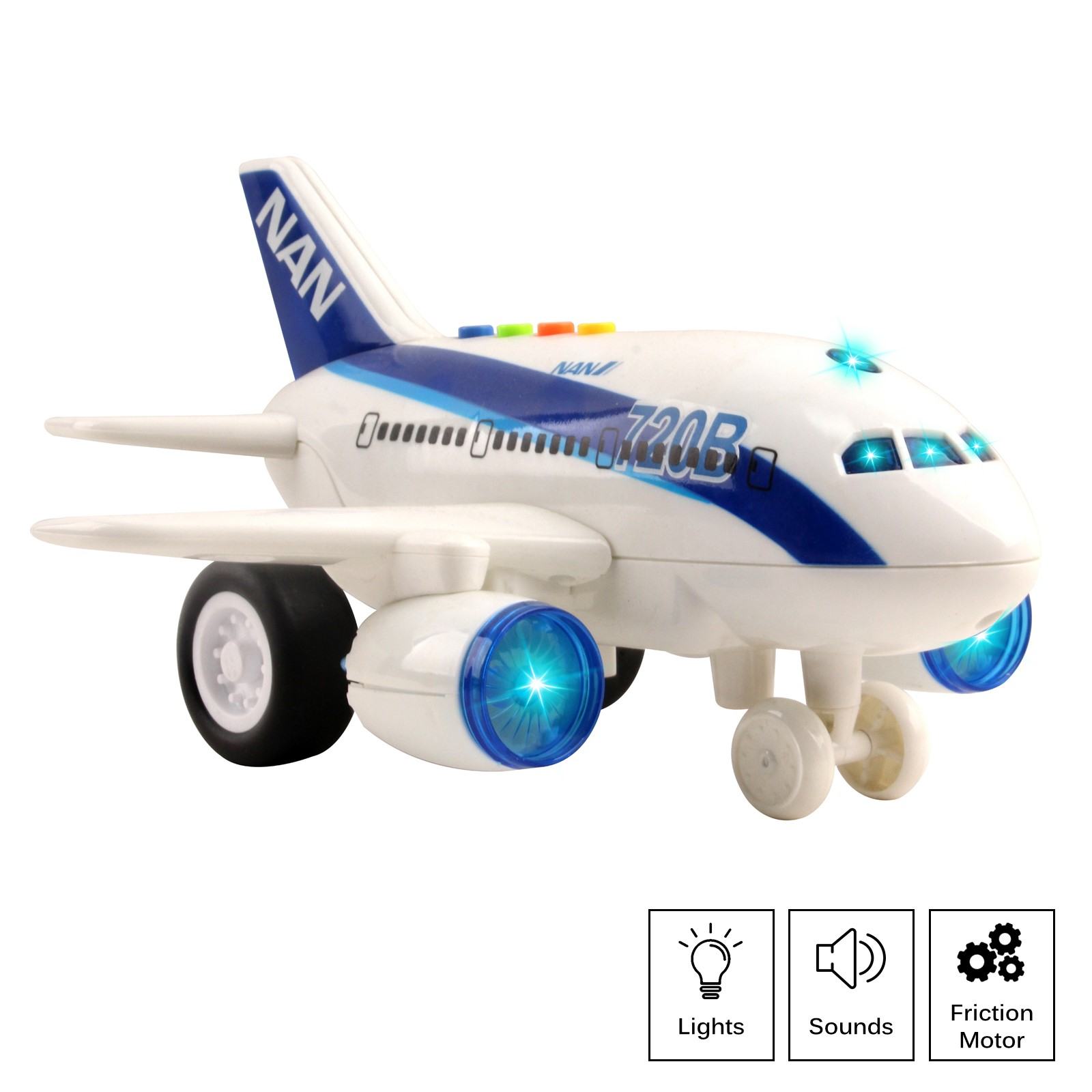 Commercial Airplane Friction Powered Aviation Toy Push And Go 1:160 Scale Aircraft With Fun Lights And Sounds Durably Built Kids Pretend Play Air Plane Perfect Gift For Children Boys Girls