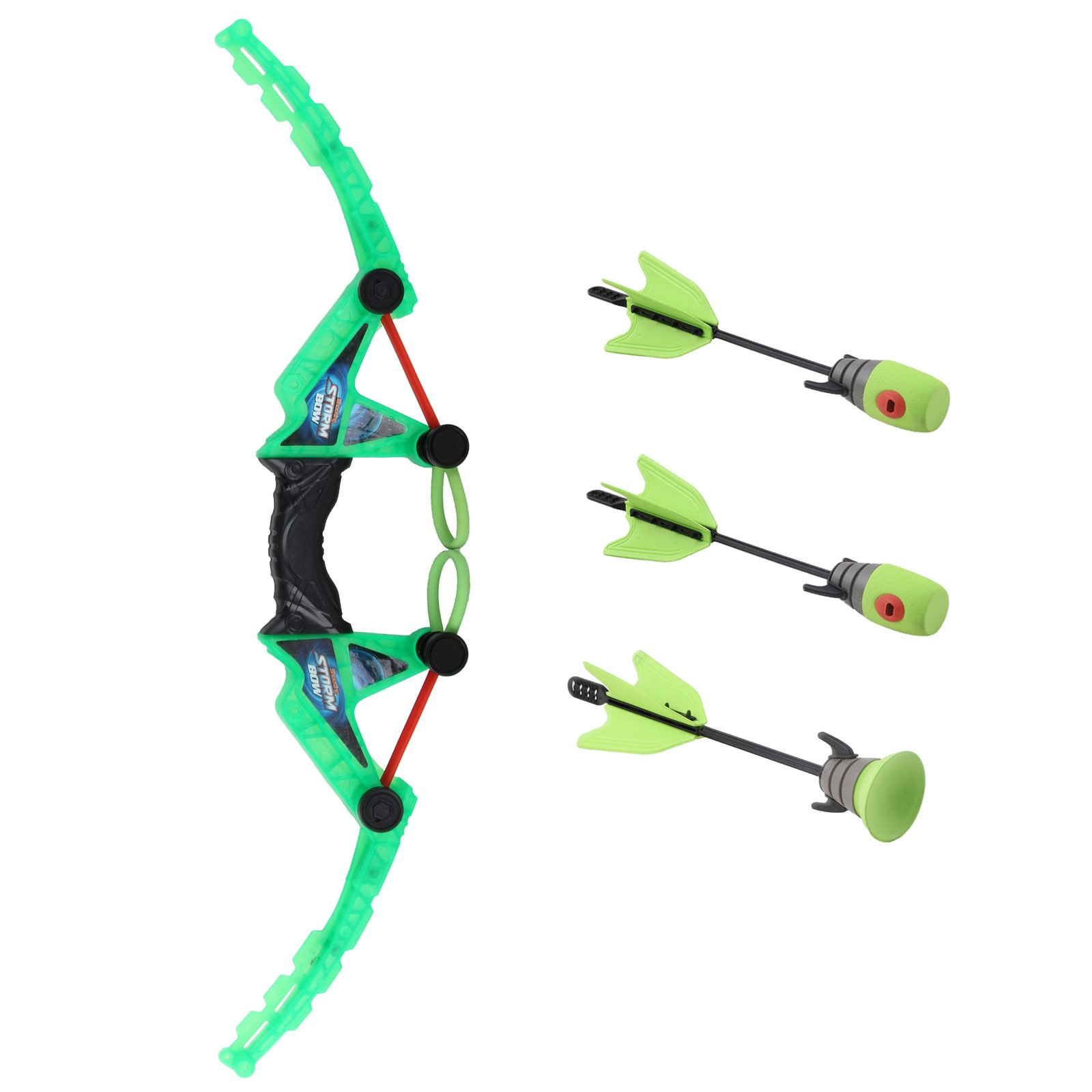 Air Storm Fast Load Bow With Suction Cup And Whistle Arrows Fun Shooting Games Archery Activity Neon Green Color