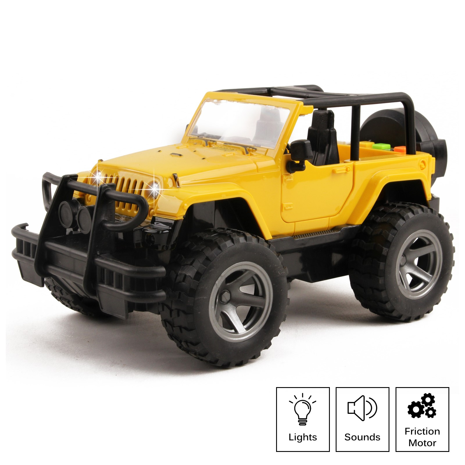 Off-Road Truck Friction Powered SUV 1:16 Scale With Lights And Sounds Doors Open Kids Push And Go Action Realistic Toy Vehicle Imagination Pretend Play Car Great Gift For Children Boys Girls