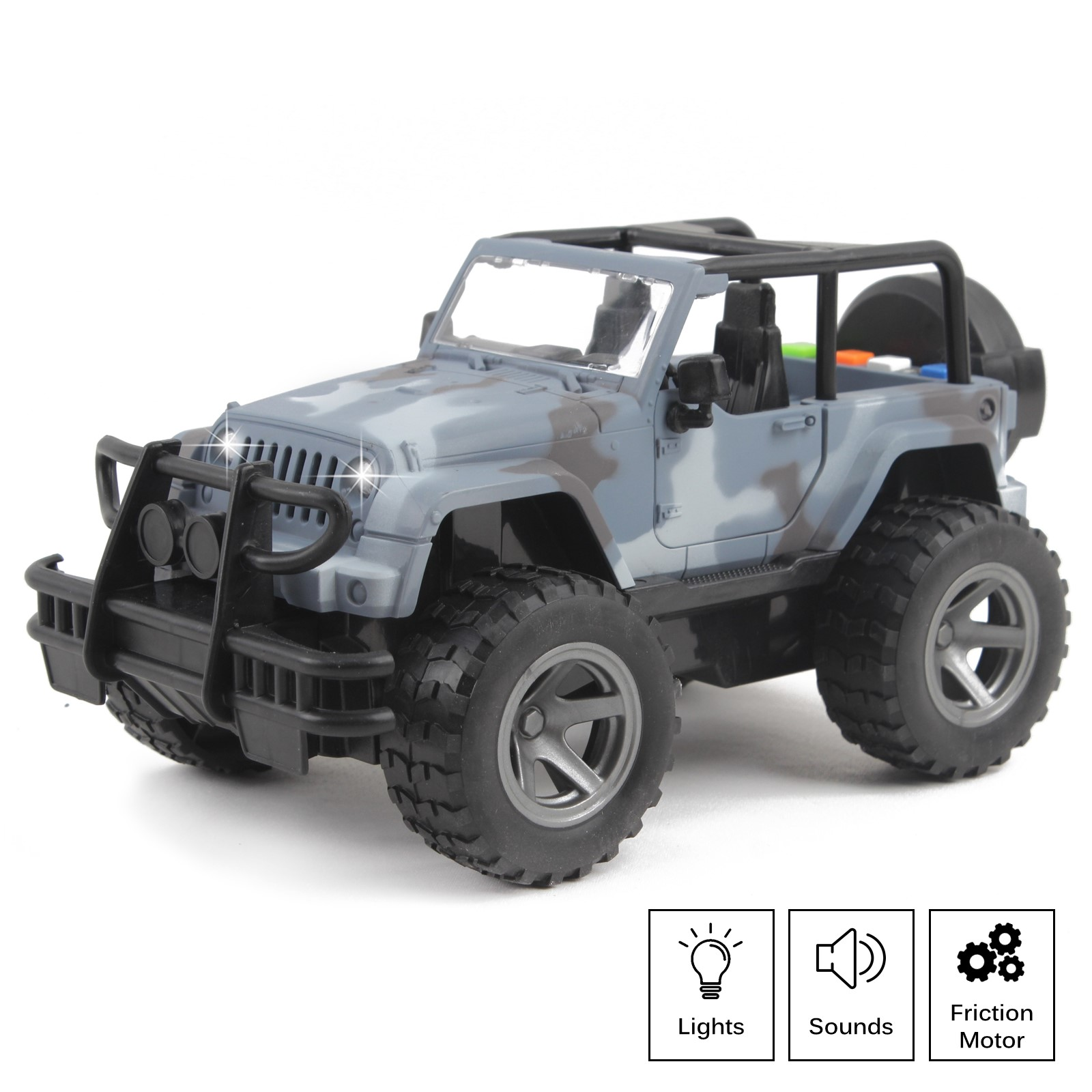 Off-Road Military Truck Friction Powered SUV 1:16 Scale With Lights And Sounds Doors Open Kids Push And Go Action Army Toy Vehicle Imagination Play Fighter Car Great Gift For Children Boys Girl