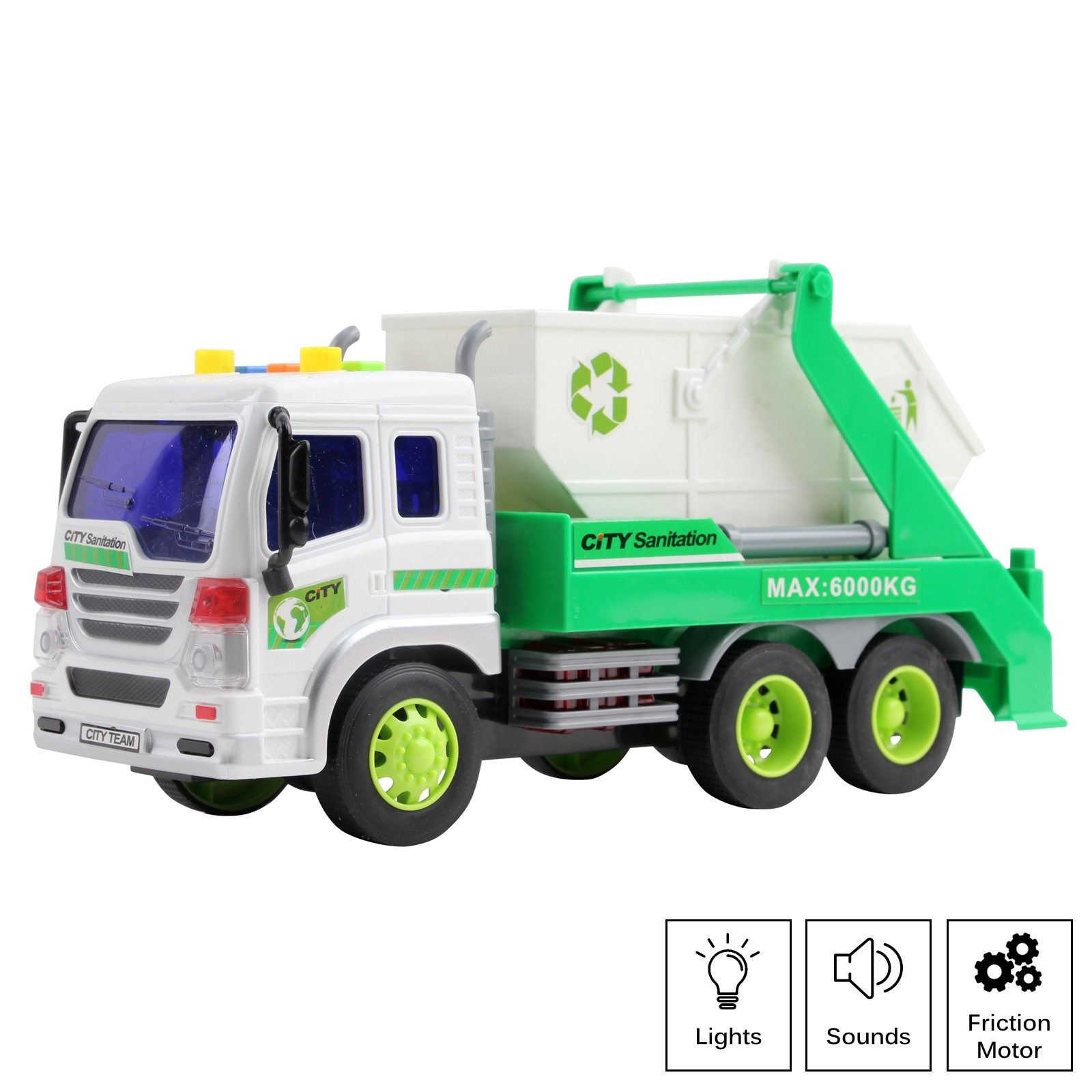 Friction Powered Garbage Truck With Lights And Sounds Lift Up Body 1:16 Scale Durable Kids Dump Sanitation Push And Go Toy Car Pretend Play Transport Vehicle Great Gift For Children Boys Girls