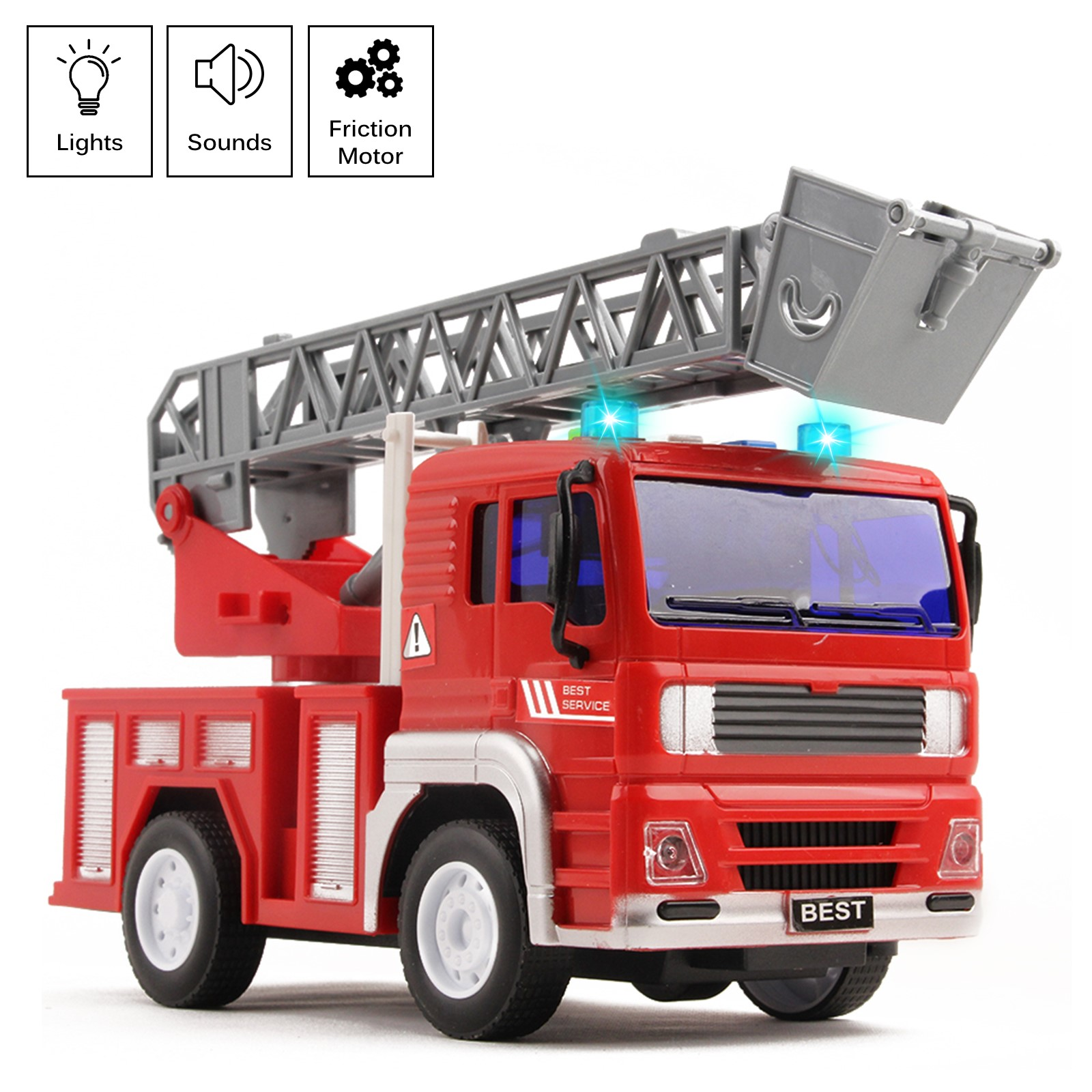 "Fire Truck Rescue With Lights And Sounds 12.5"" Extending Ladder 360 Rotation Friction Powered Toy Car Kids Push And Go Firetruck Engine Vehicle Pretend Play Great Gift For Children Boys Girls"