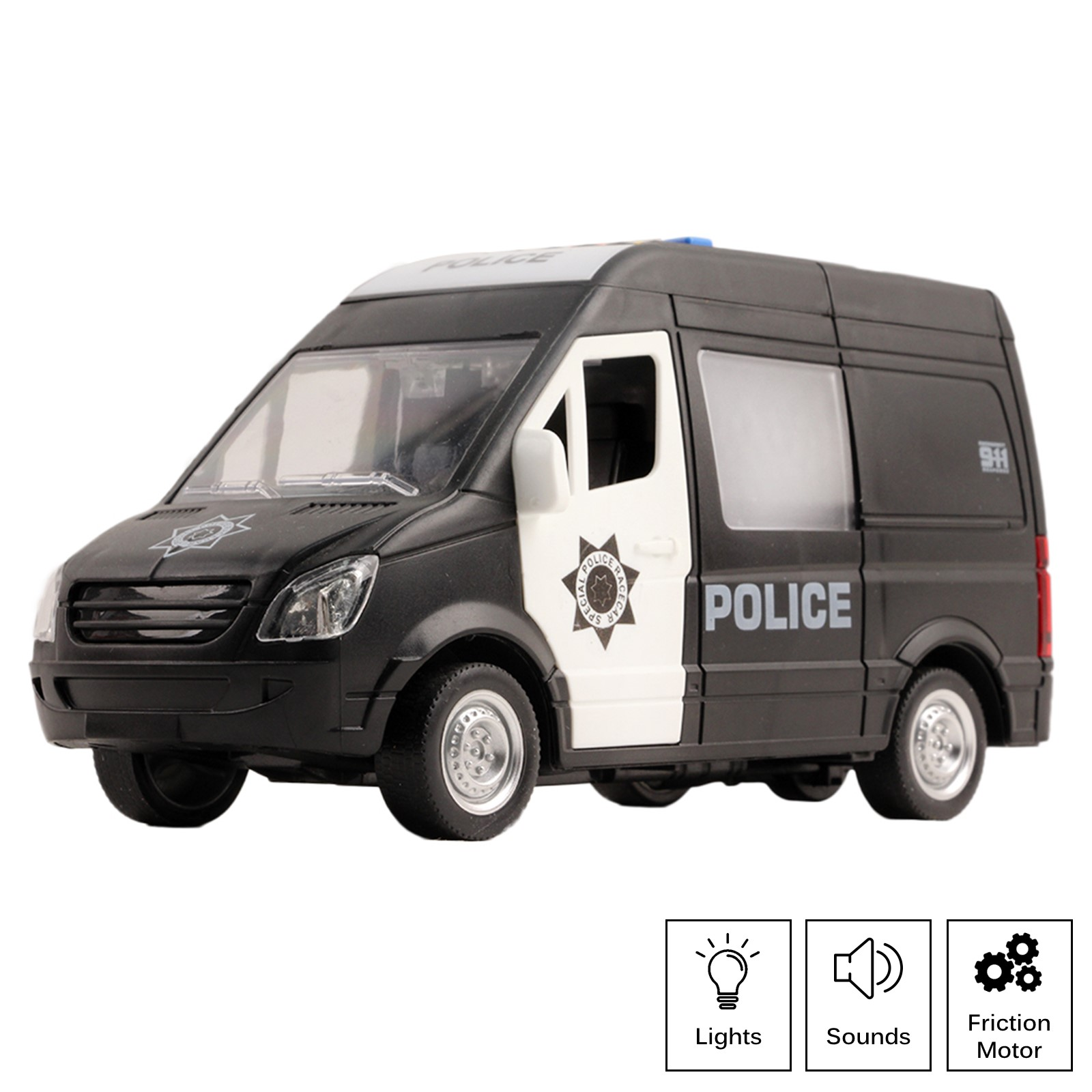 Rescue Police Car Friction Powered 1:16 Scale With Lights And Sound Effects Durable Kids SWAT Transport Vehicle Push And Go Pretend Play Emergency Toy Cop Van Great Gift For Children Boys Girls