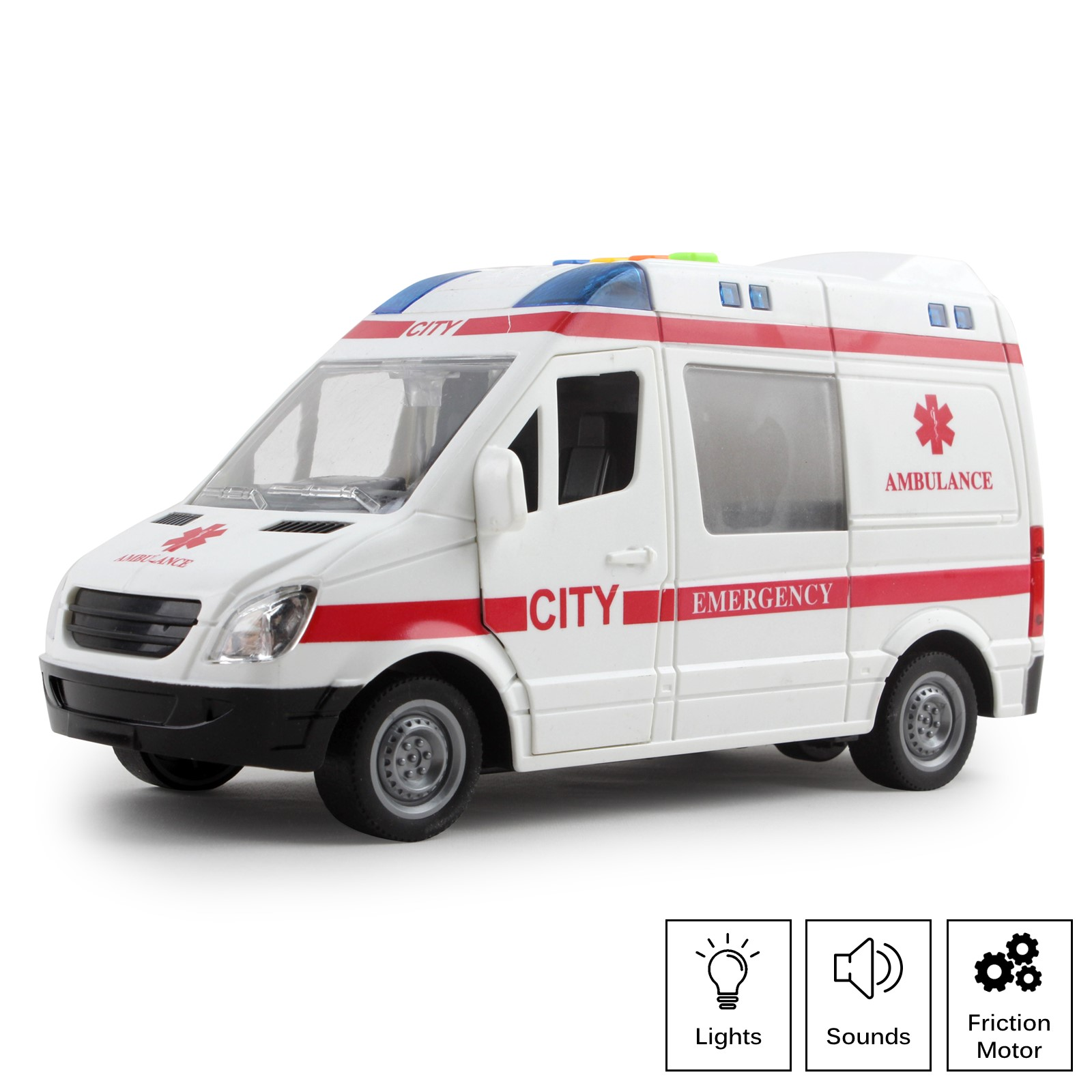 Rescue Ambulance Friction Powered 1:16 Scale With Lights And Sounds Kids Medical Transport Emergency Vehicle Push And Go Durable Toy Car Pretend Play Van Great Gift For Children Boys Girls