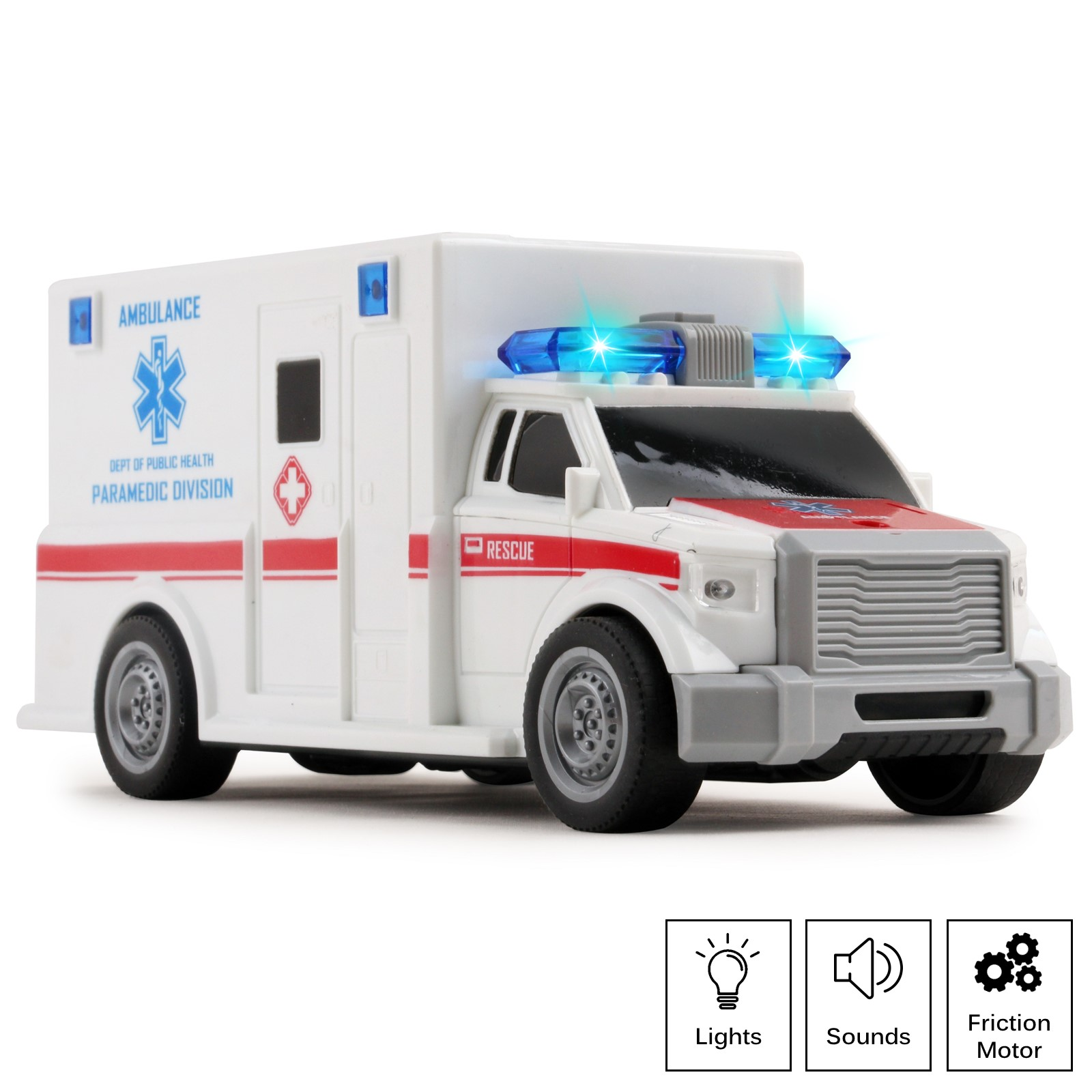Rescue Ambulance Friction Powered 1:20 Scale Toy Car With Lights And Sounds Durable Kids Medical Transport Emergency Vehicle Push And Go Pretend Play Van Great Gift For Children Boys Girls