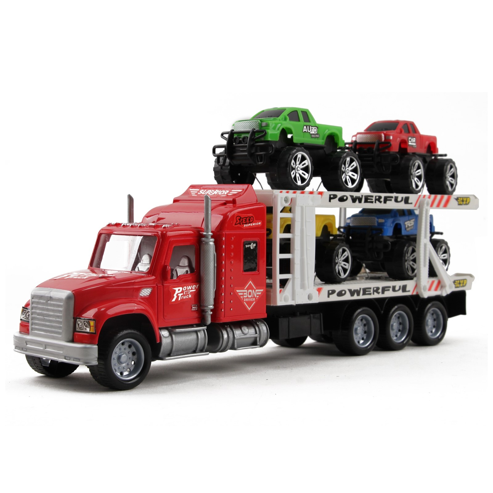 "Friction Powered Toy Semi Truck Trailer 14.5"" With Four Lifted Pickup Cars Kids Push And Go Big Rig Carrier 1:32 Scale Auto Transporter Semi-Truck Play Vehicle Great Gift For Children Boys Girl"