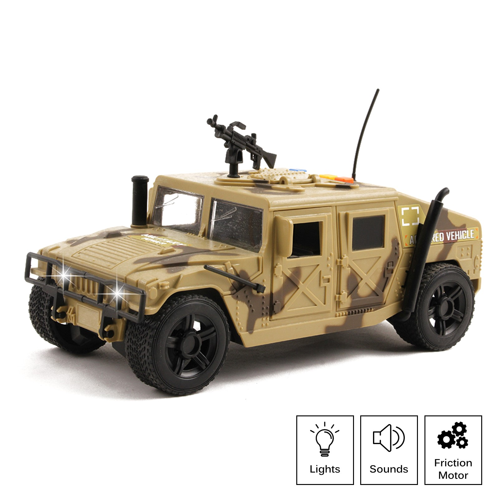 Military Fighter Truck Friction Powered With Lights And Sounds Kids Push And Go 1:16 Scale Pretend Play Armored Army Vehicle Doors Open Quality Action Toy Car Great Gift For Children Boys Girls