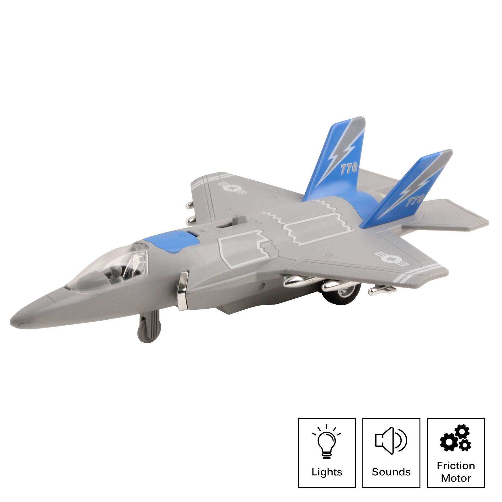 Army Air Force Fighter Jet F-22 Toy Military Airplane Friction Powered 1:16 Scale With Fun Lights And Sounds Pretend Play Quality Kids Action Bomber Aircraft Great Gift For Children Boys Girls