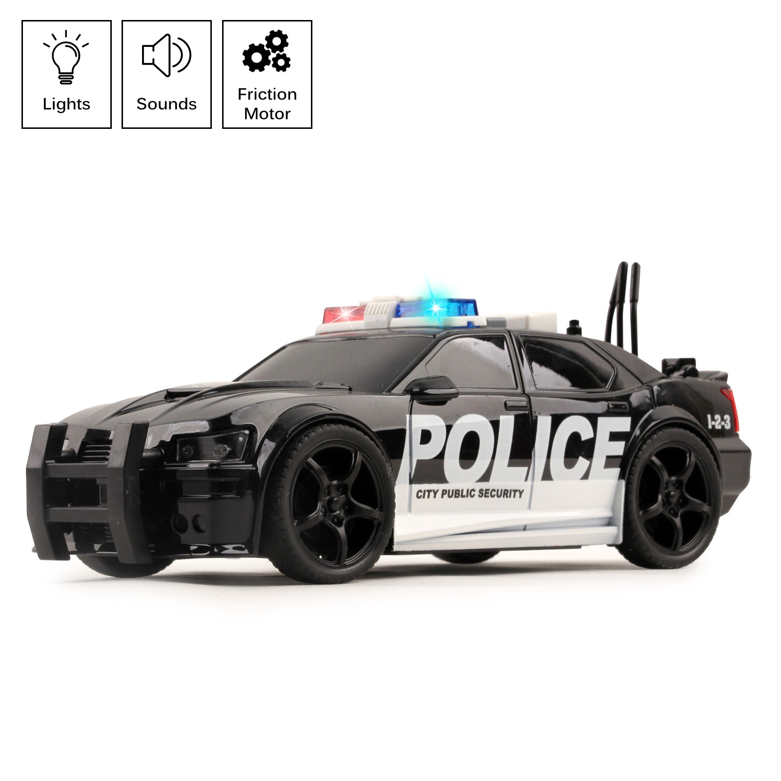 Police Car Friction Powered 1:20 Scale With Lights Sirens And Sounds Durable Kids Rescue Emergency City Cop Vehicle Push And Go Pursuit SWAT Toy Pretend Play Great Gift For Children Boys Girls