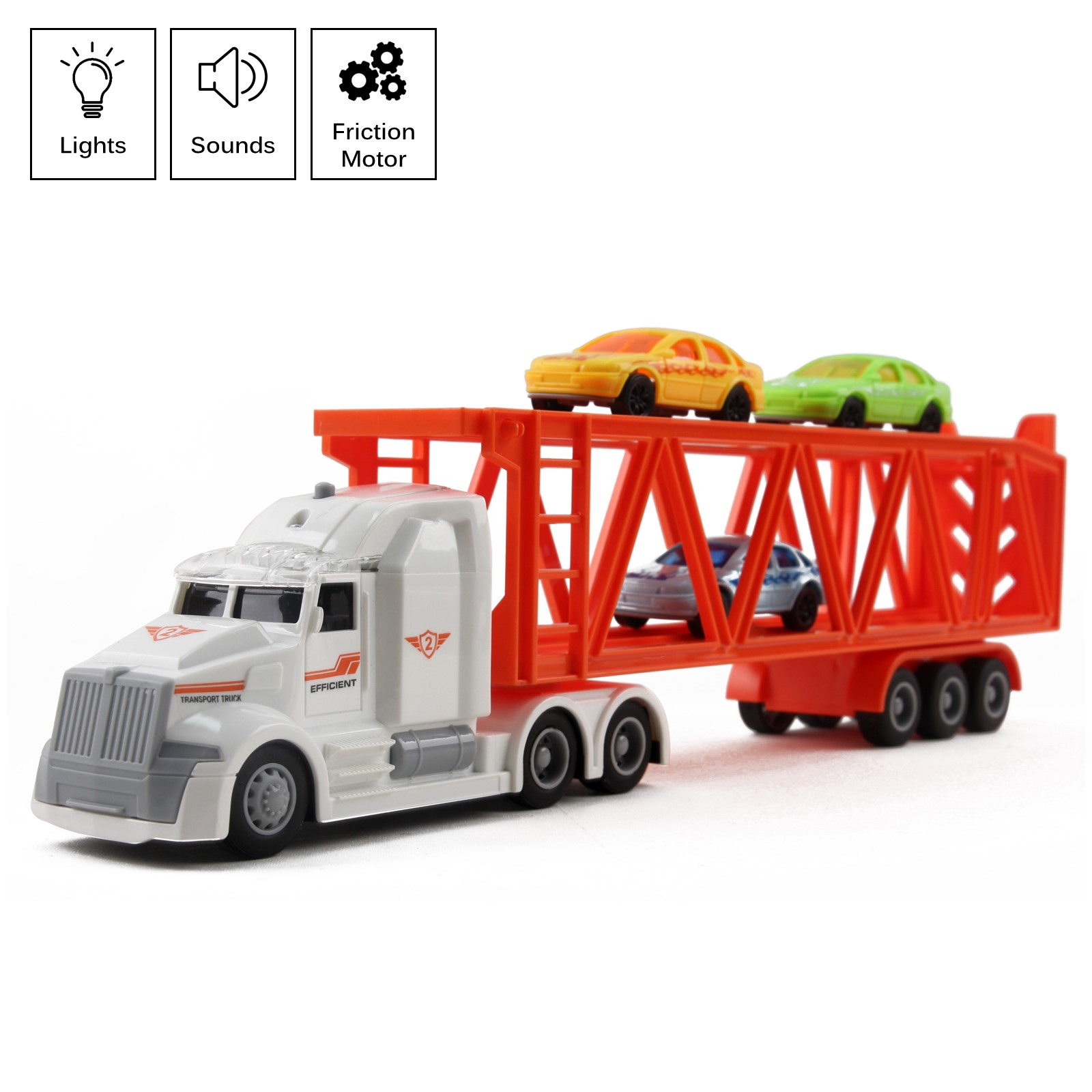 "Toy Semi Truck Trailer 3 Car Carrier 14"" Friction Powered With Lights And Sounds Kids Push And Go Big Rig Auto Transporter Vehicle Semi-Truck Pretend Play Great Gift For Children Boys Girls"