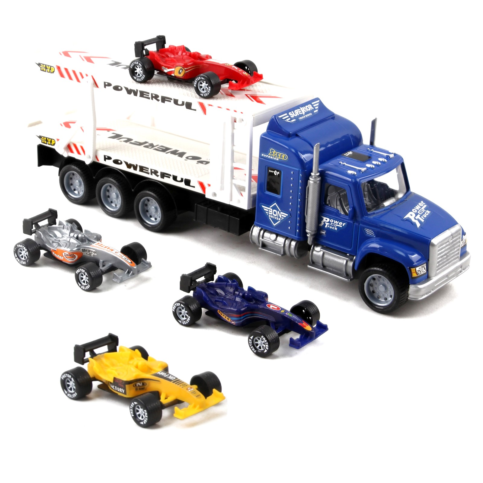 "Friction Powered Toy Semi Truck Trailer 14.5"" With Four Formula 1 Race Cars Kids Push And Go Big Rig Carrier 1:32 Scale Auto Transporter Semi-Truck Play Vehicle Great Gift For Children Boy Girl"