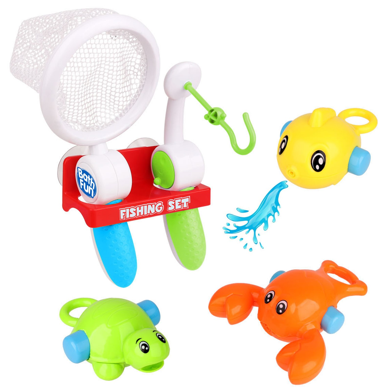 Bath Toy Fishing Set Includes Fish Turtle Crab Rod And Net For Toddler Baby And Young Children Perfect For Bathtub Or Beach Day Water Fun Educational Functional Interactive Kids Play Toys Boosts Imagination And Creativity