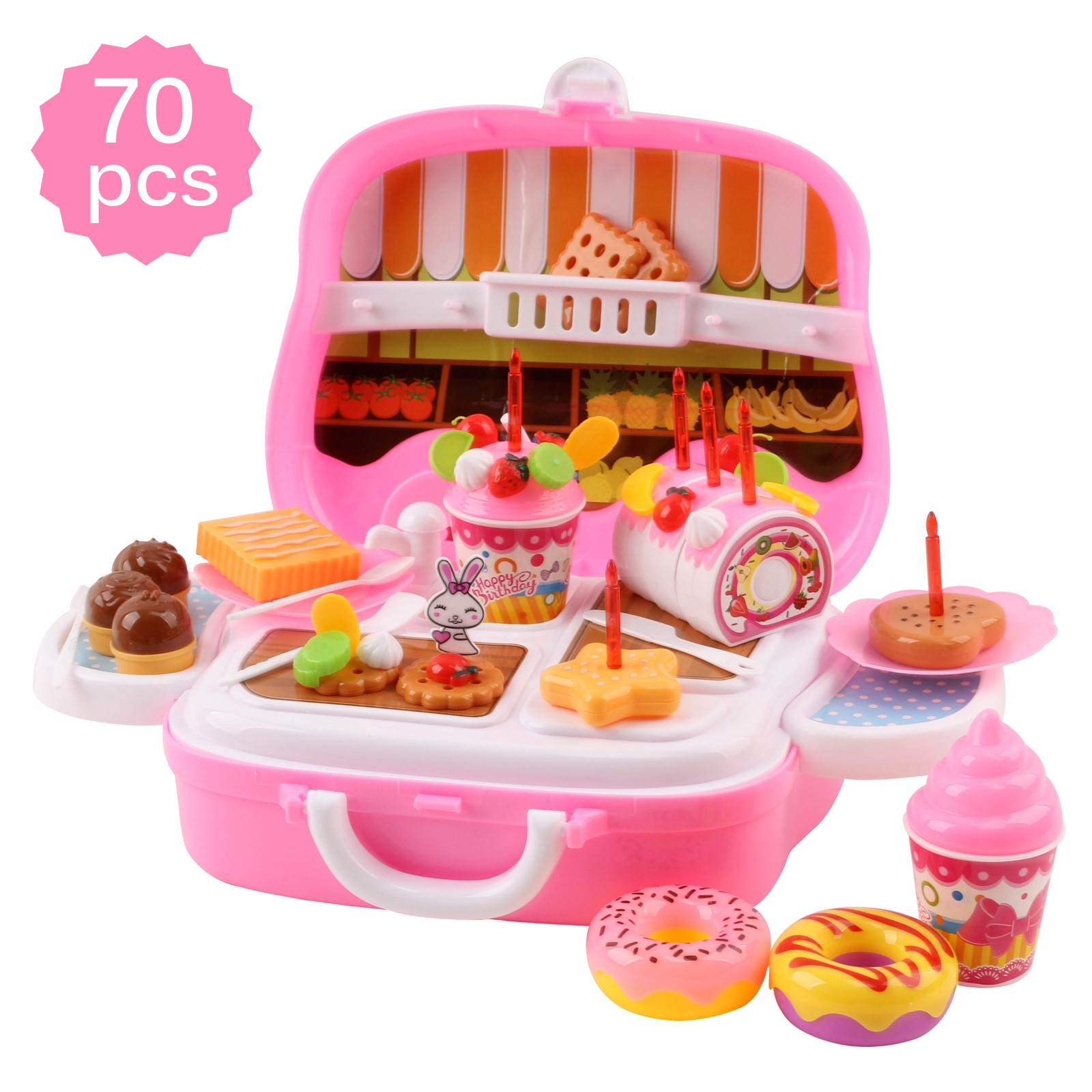 39 Pieces Large Portable Dessert Stand Birthday Cake Ice Cream Cart Candy Trolley Kitchen With Lights Music Candles Food Toys 3 feet tall Children's Party Pretend Play Truck Folds Up in Suitcase Playset Appliance Set Pieces