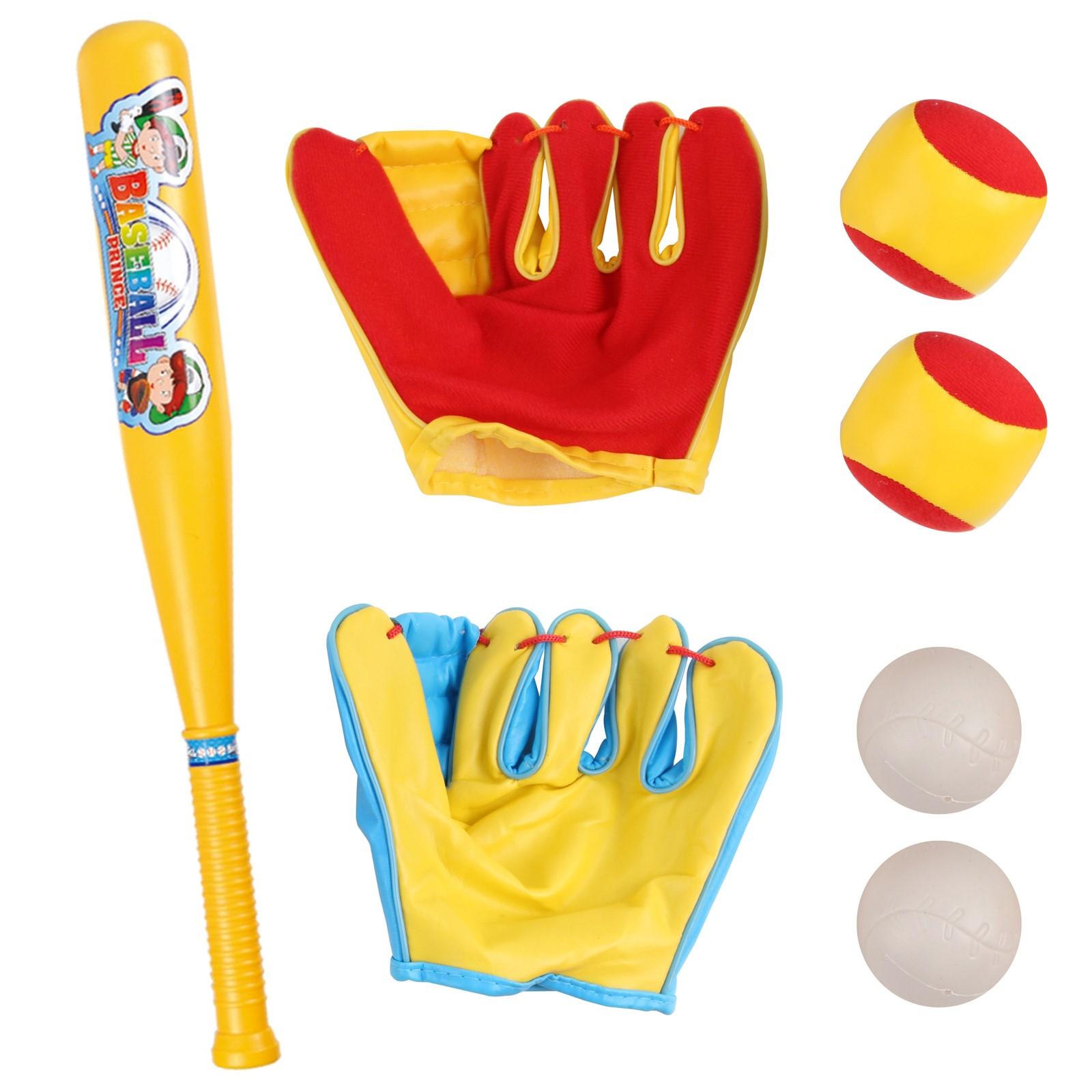 Baseball Set For Toddlers And Kids Practice Game Includes 1 Bat 2 Mitts 4 Balls Perfect Gift For Children Boys Girls To Improve Batting Skills Sports Toys Tee Game T-Ball