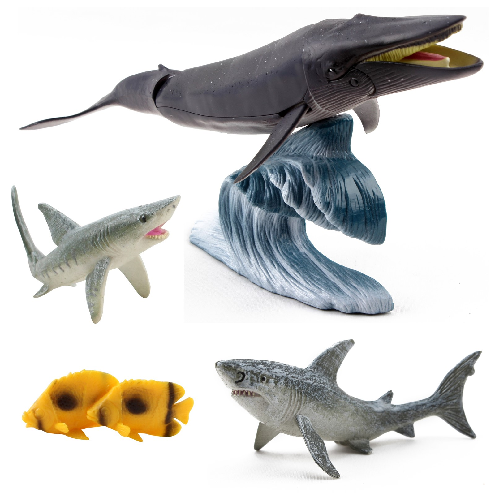 Marine Animal Set 6 Piece Includes Humpback Whale, 2 Sharks, 2 Ocean Fish And Wave Stand Aquatic Life Figurine Species Sea Creatures Kids Play Toys Great Gift For Children Girls Boys Toddlers