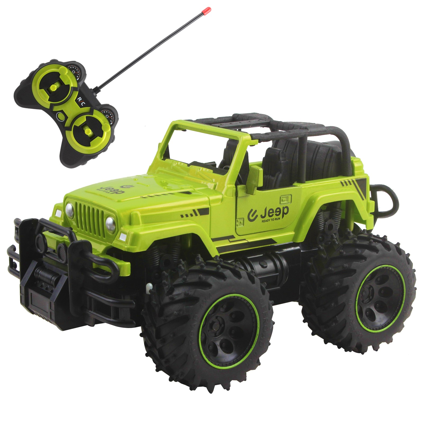 "Vokodo RC Truck 10"" 1:16 Scale Size Jeep With Big Off-Road Tires And Opening Doors SUV Remote Control Indoor Outdoor Car Ready To Run Electric RTR Kids Toy Vehicle Great Gift For Children Boys Girls"