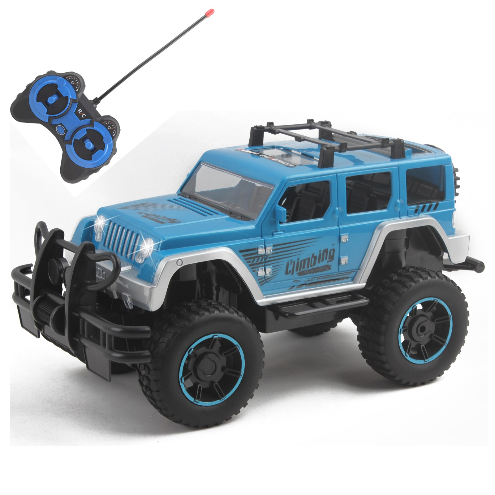 Vokodo RC Truck 12 Inch 1:12 Scale With LED Headlights Big Tires Full Function Off-Road SUV Remote Control Indoor Outdoor Car Ready To Run Electric Kids Toy Vehicle Great Gift Children Boy Girl (Blue)