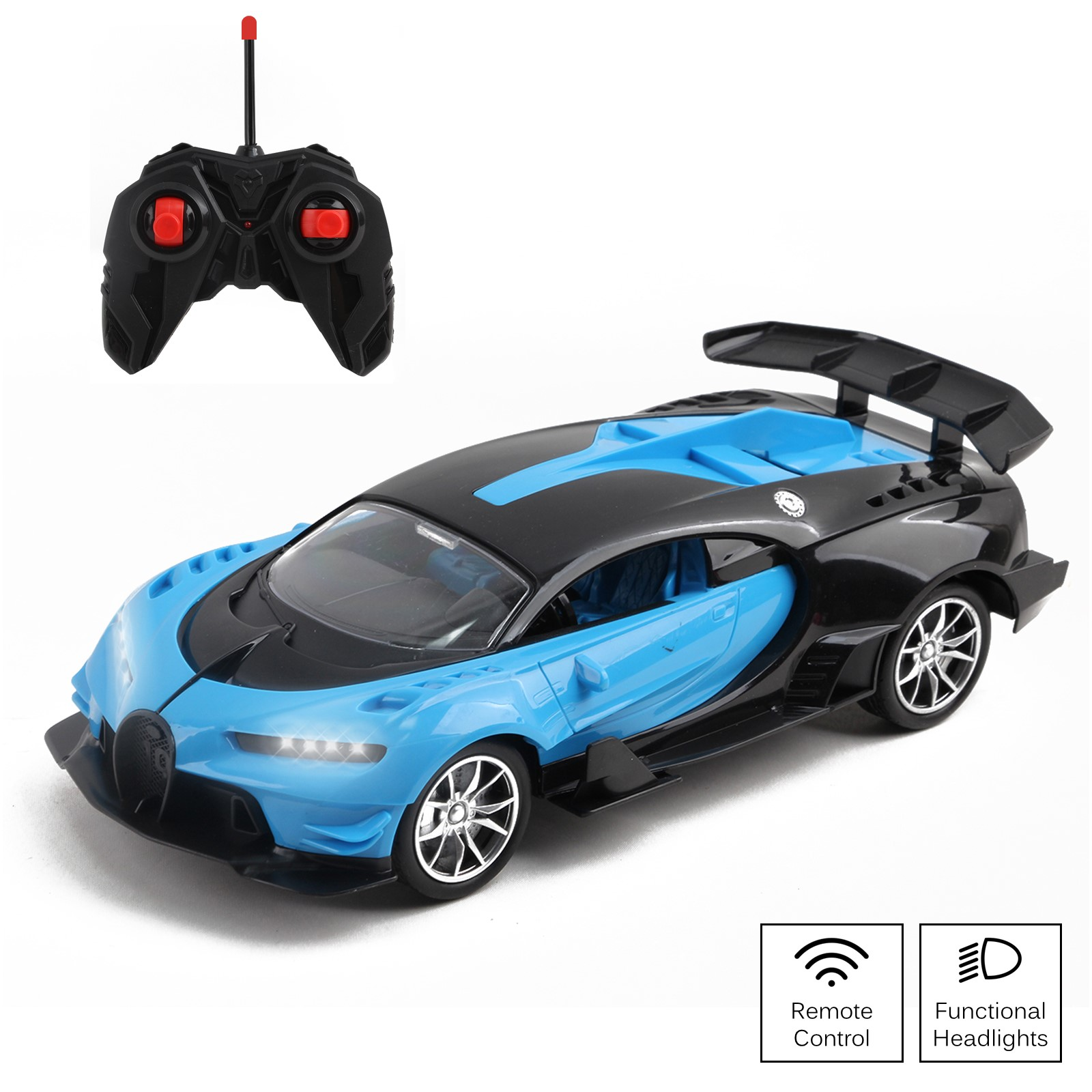 Vokodo RC Super Car 1:16 Scale Remote Control Full Function with Functional LED Headlights Easy to Operate Kids Toy Quality Race Vehicle Perfect Exotic Sports Model Great Gift for Children Boys Girls