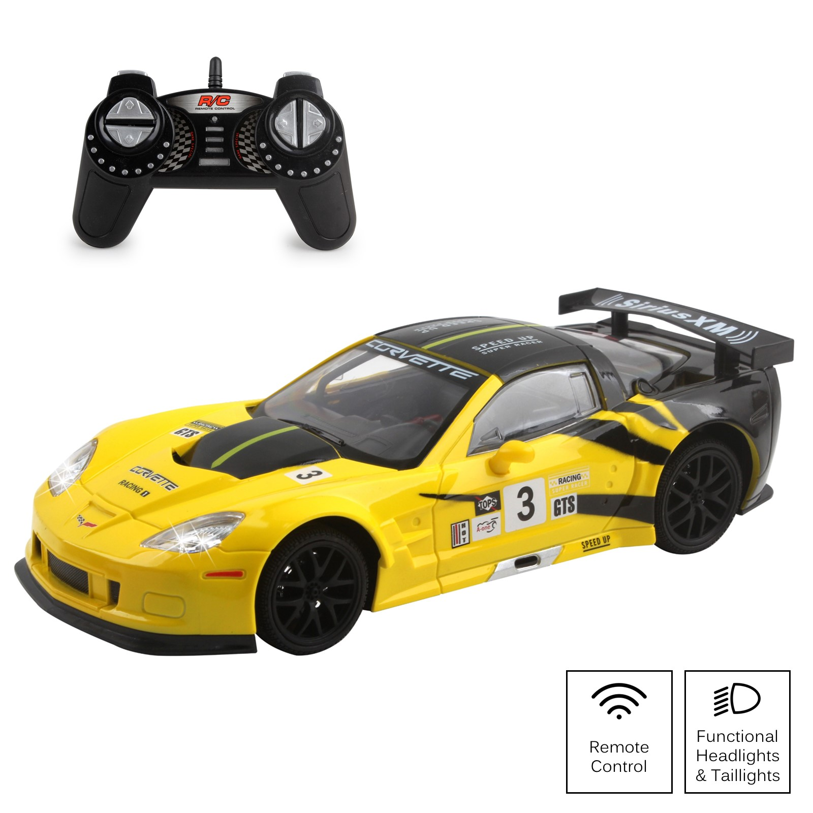 Vokodo RC Super Car 1:18 Scale Remote Control Full Function Corvette with Working LED Headlights Easy to Operate Kids Toy Race Vehicle Perfect Exotic Sports Model Great Gift for Children Boys Girls