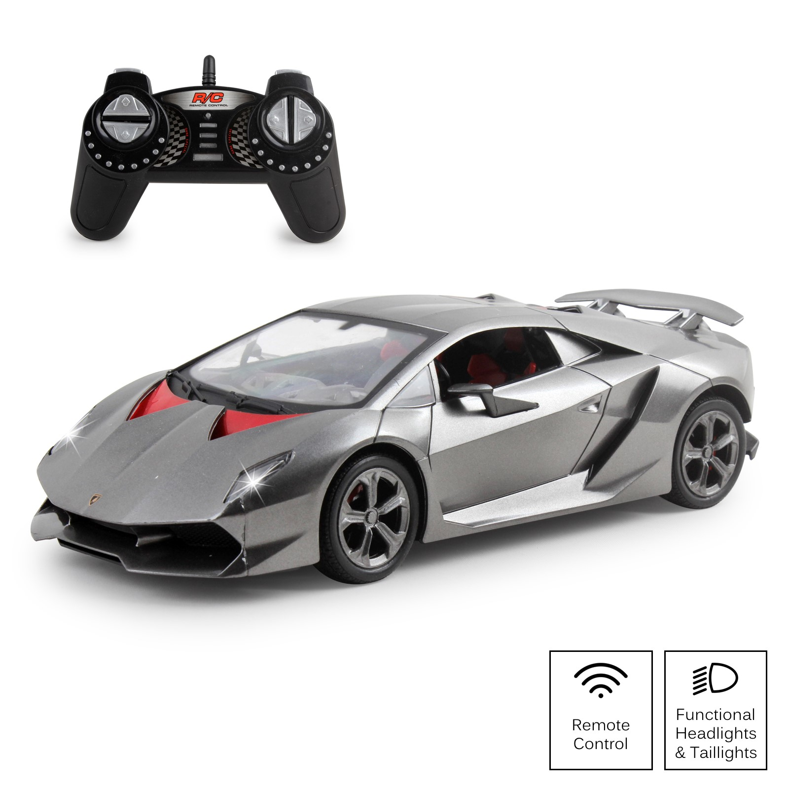 Vokodo RC Super Car 1:18 Scale Remote Control Full Function Easy to Operate Kids Toy Exotic Sports Model with Working LED Headlights Luxury Race Vehicle for Children Boys and Girls