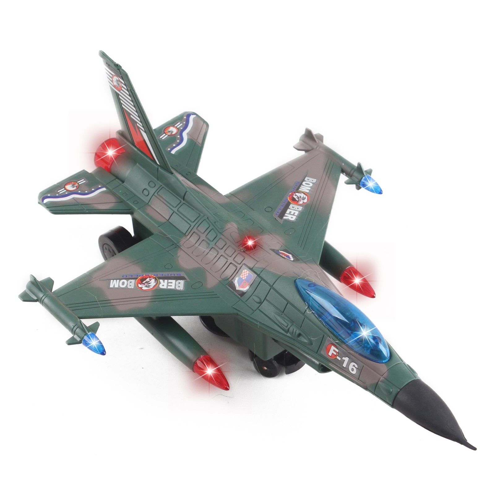 Toy Army Air Force Fighter Jet F16 Battery Operated Kid\'s Bump and Go Toy Plane With Flashing Lights And Sounds Bumps Into Something and Will Change Direction Perfect For Boys And Girls (Green)
