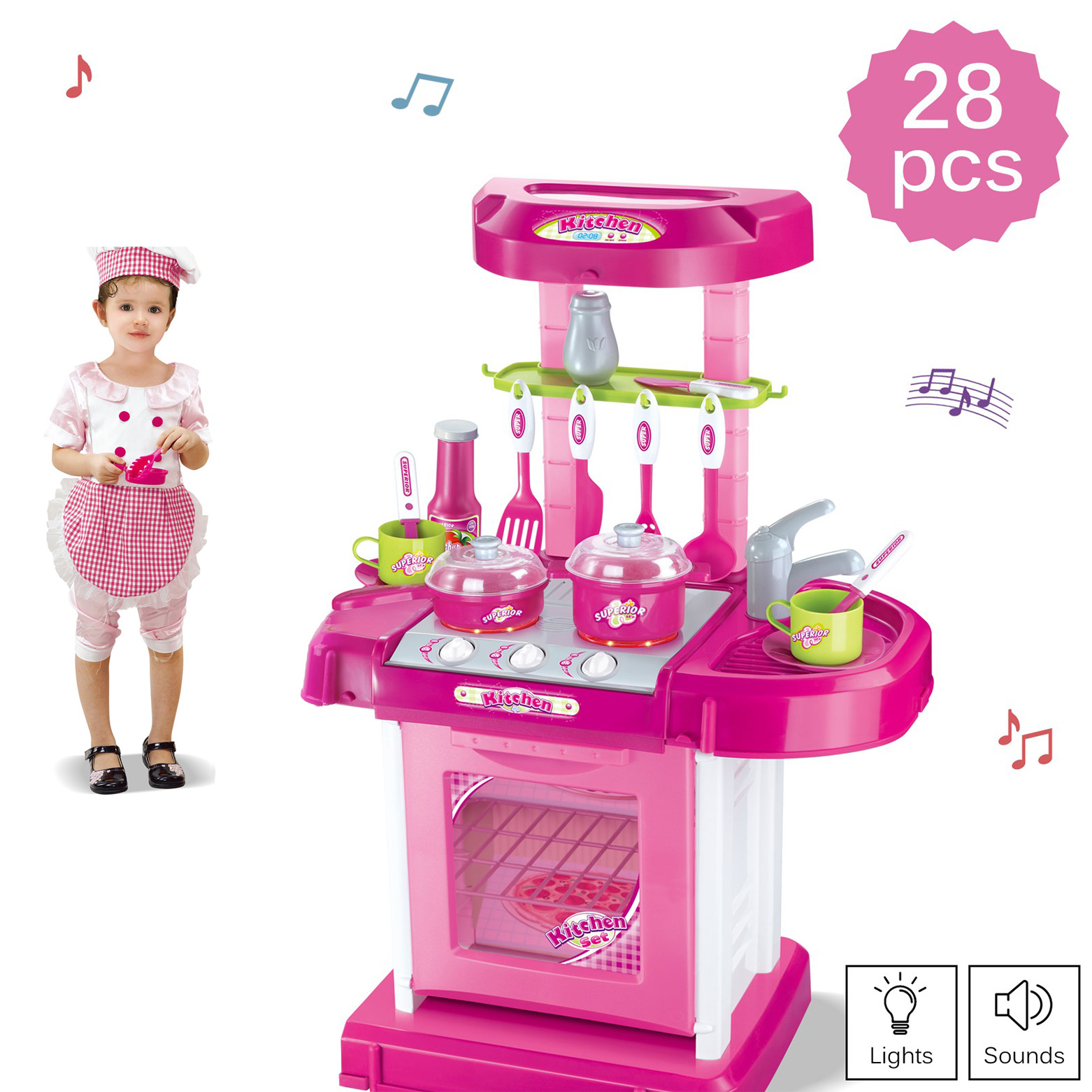 Deluxe Toy Kitchen Playset 2 Feet Tall With Pots Oven Stove Sink Appliances Sounds And Lights Kids Pretend Play Perfect Gift For Early Learning Educational Preschool Girls Boys Cooking