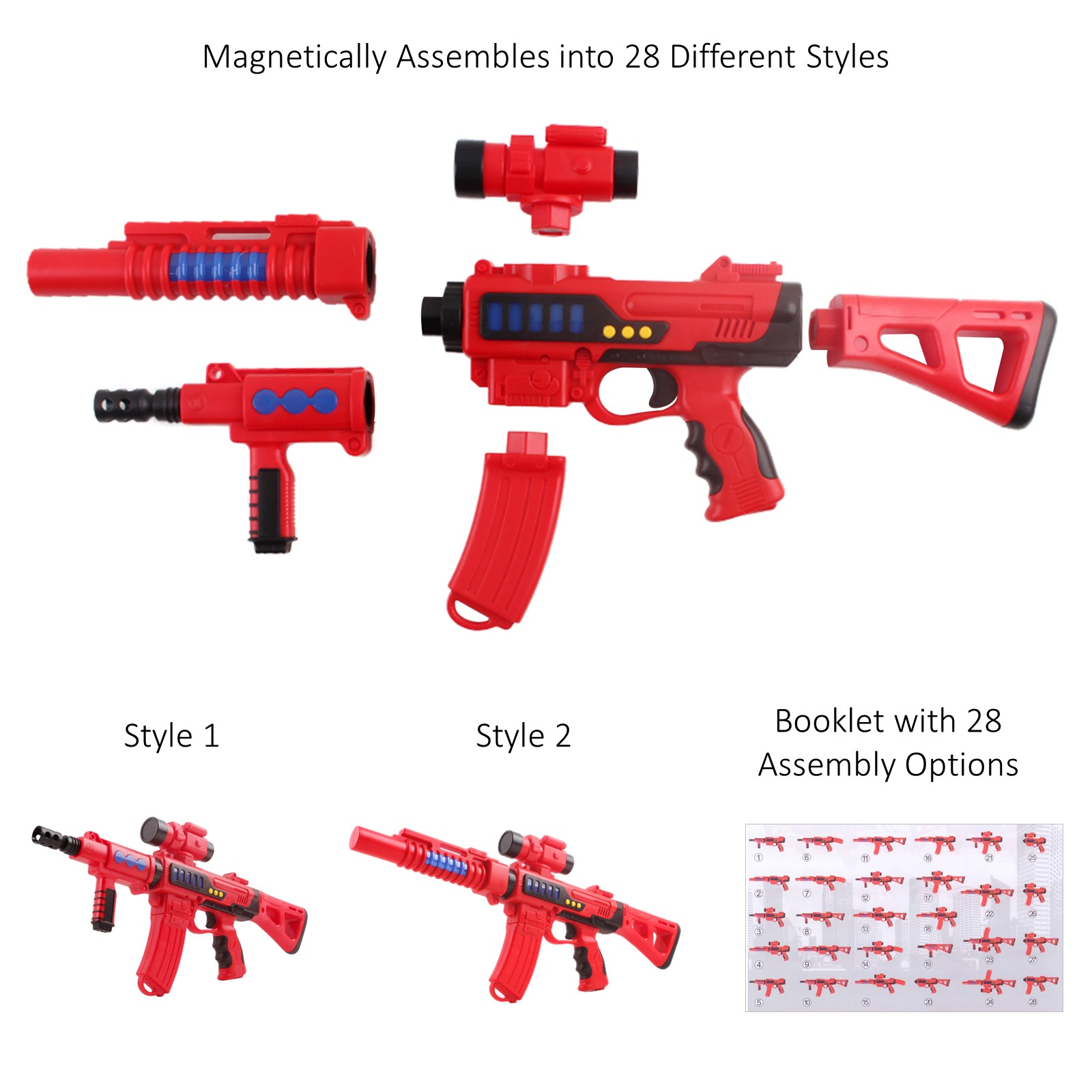 6 Piece Take Apart Gun With Lights And Sounds Scope Featuring 28 Build Options Magnetic Assembly Fun Pretend Play Creative Imagination Building Construction Rifle Action Toys For Children Boys