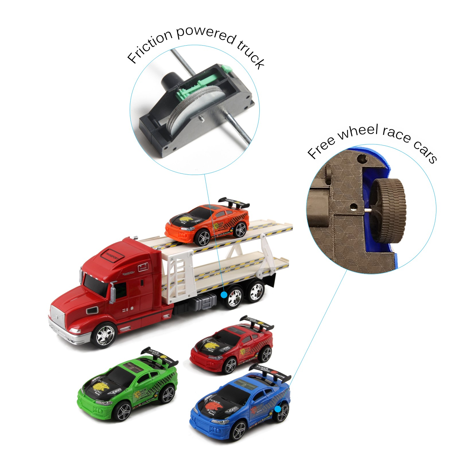 Friction Powered Toy Semi Truck Trailer Kids Push And Go Big Rig Carrier Includes Four Race Cars 120 Scale Auto Transporter Vehicle Perfect Pretend Play Imagination Gift For Children