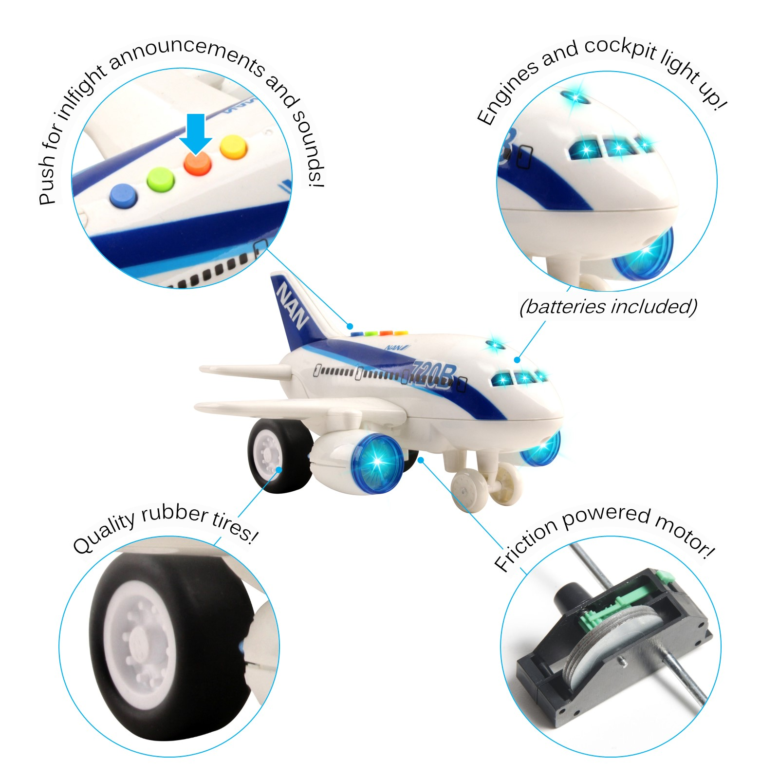 Commercial Airplane Friction Powered Aviation Toy Push And Go 1160 Scale Aircraft With Fun Lights And Sounds Durably Built Kids Pretend Play Air Plane Perfect Gift For Children Boys Girls
