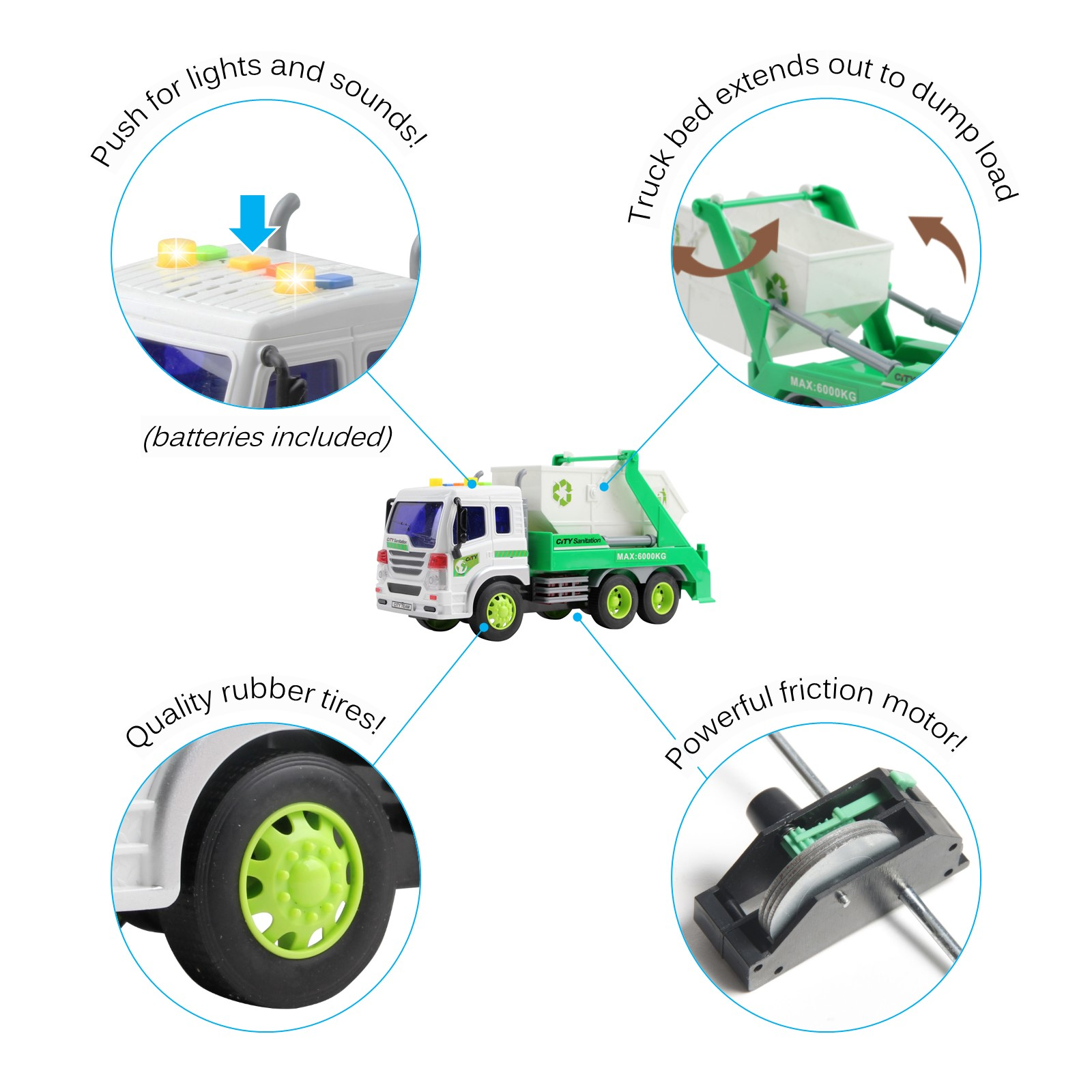 Friction Powered Garbage Truck With Lights And Sounds Lift Up Body 116 Scale Durable Kids Dump Sanitation Push And Go Toy Car Pretend Play Transport Vehicle Great Gift For Children Boys Girls