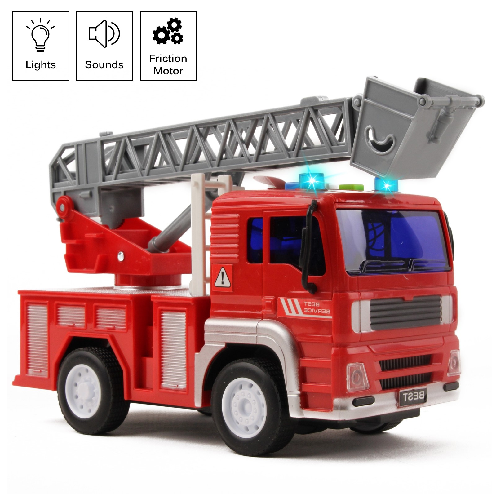 Fire Truck Rescue With Lights And Sounds 125 Extending Ladder 360 Rotation Friction Powered Toy Car Kids Push And Go Firetruck Engine Vehicle Pretend Play Great Gift For Children Boys Girls