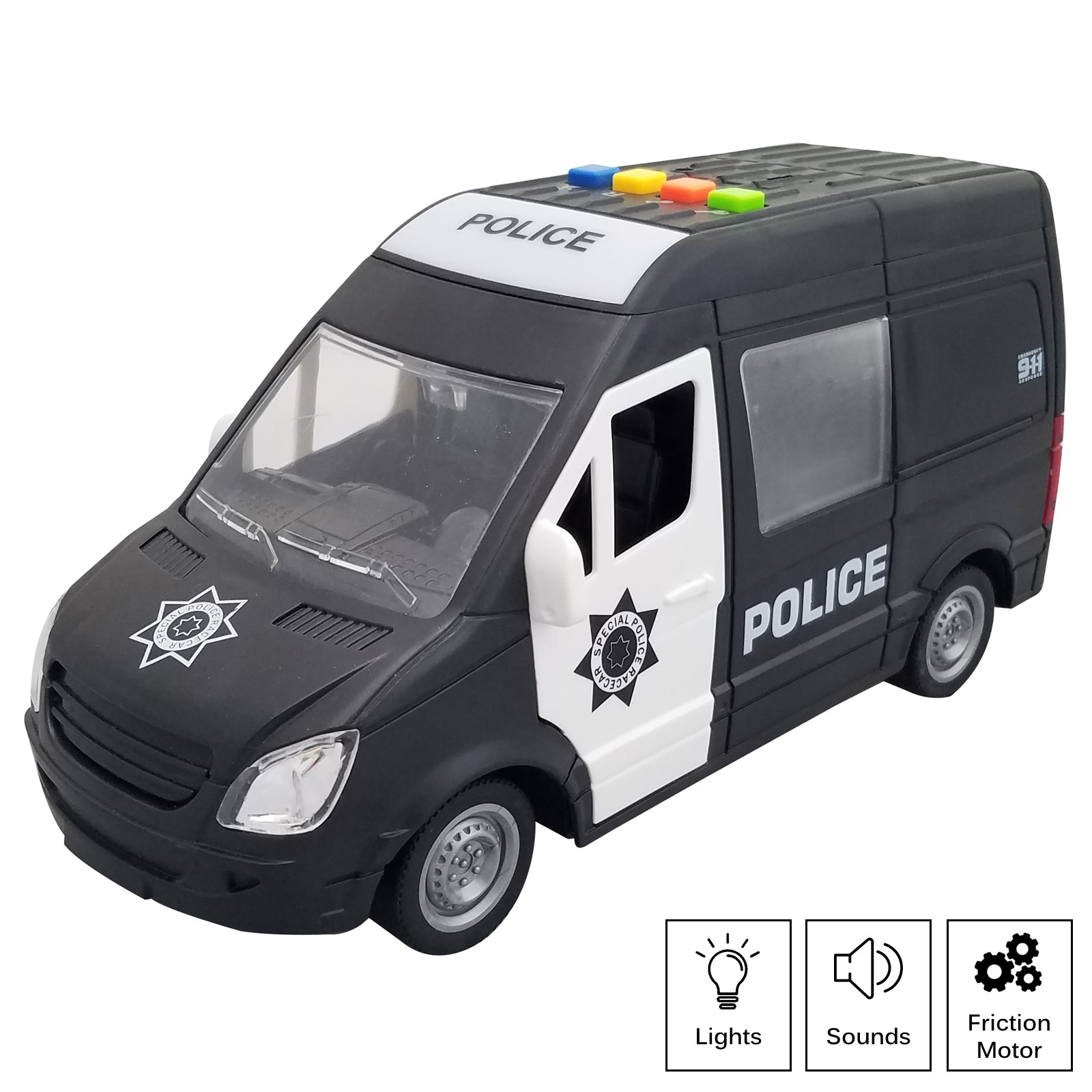 Rescue Police Car Friction Powered 116 Scale With Lights And Sound Effects Durable Kids SWAT Transport Vehicle Push And Go Pretend Play Emergency Toy Cop Van Great Gift For Children Boys Girls
